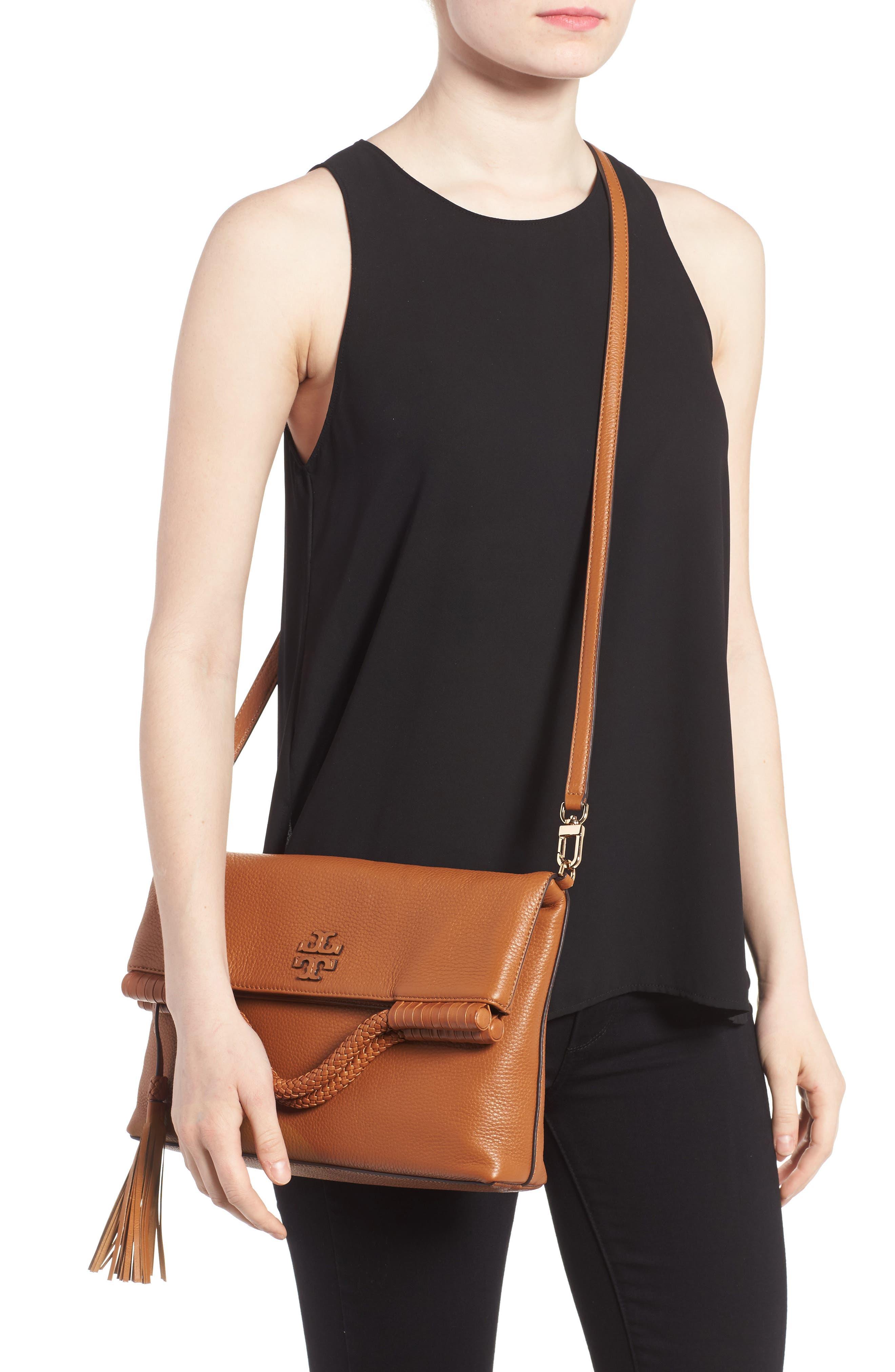 Convertible Leather Crossbody Bag,                             Alternate thumbnail 2, color,                             Saddle