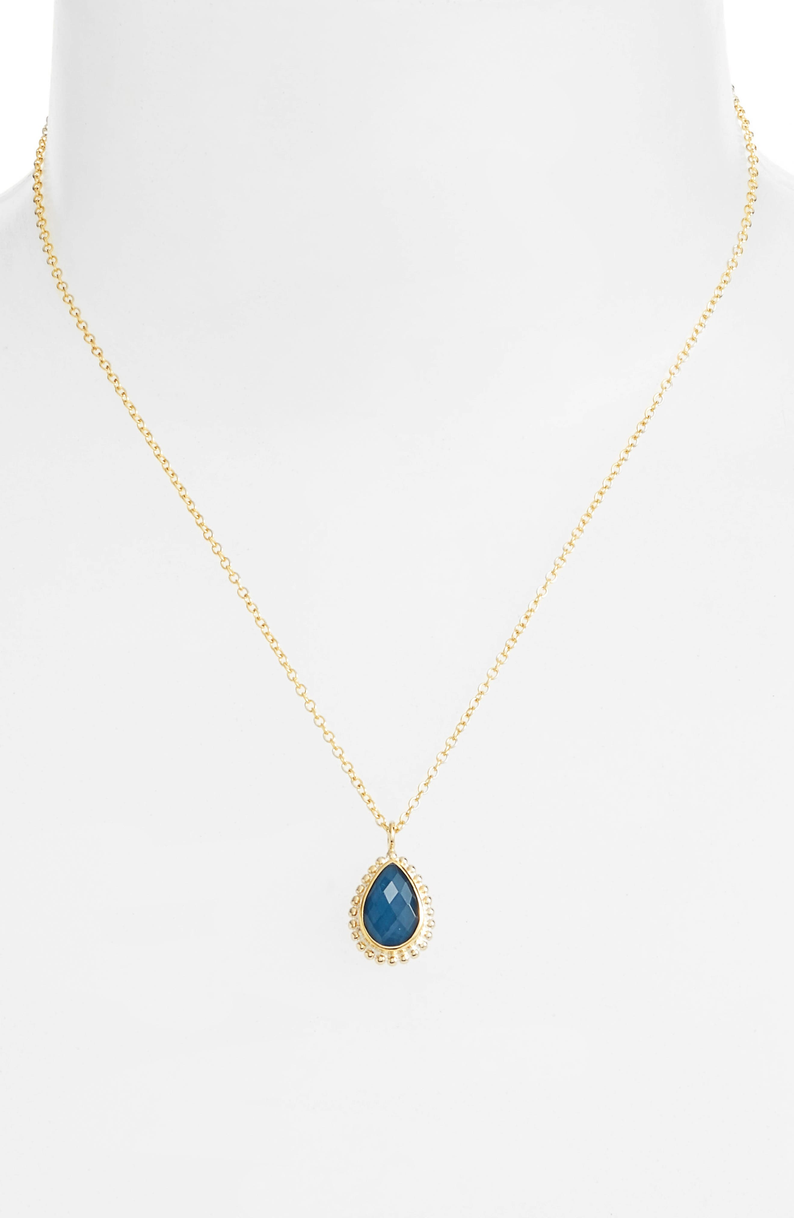 Blue Quartz Teardrop Pendant Necklace,                             Main thumbnail 1, color,                             Gold/ Blue Quartz