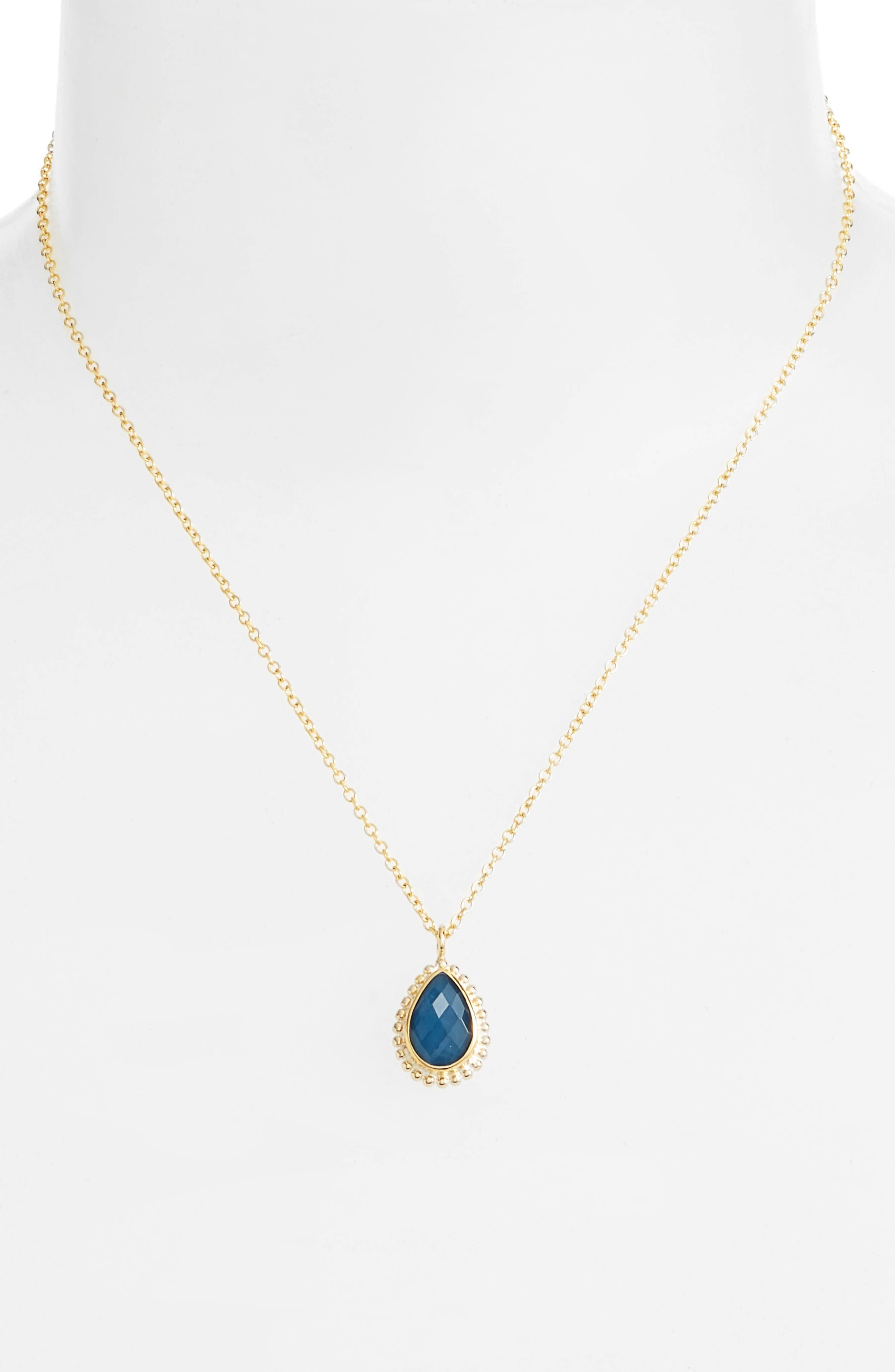 Blue Quartz Teardrop Pendant Necklace,                         Main,                         color, Gold/ Blue Quartz