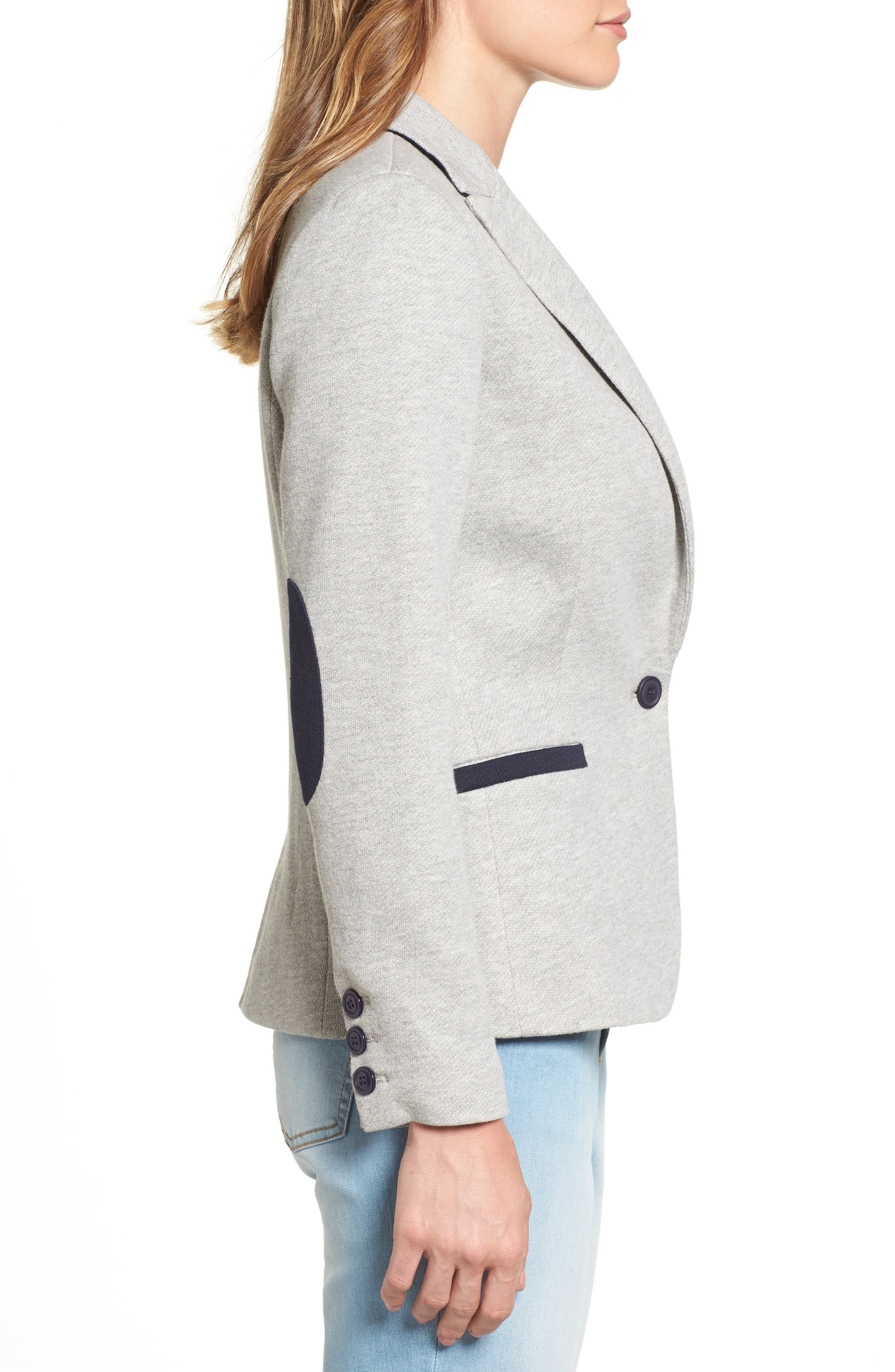 Elbow Patch Knit Blazer,                             Alternate thumbnail 3, color,                             Grey/ Navy