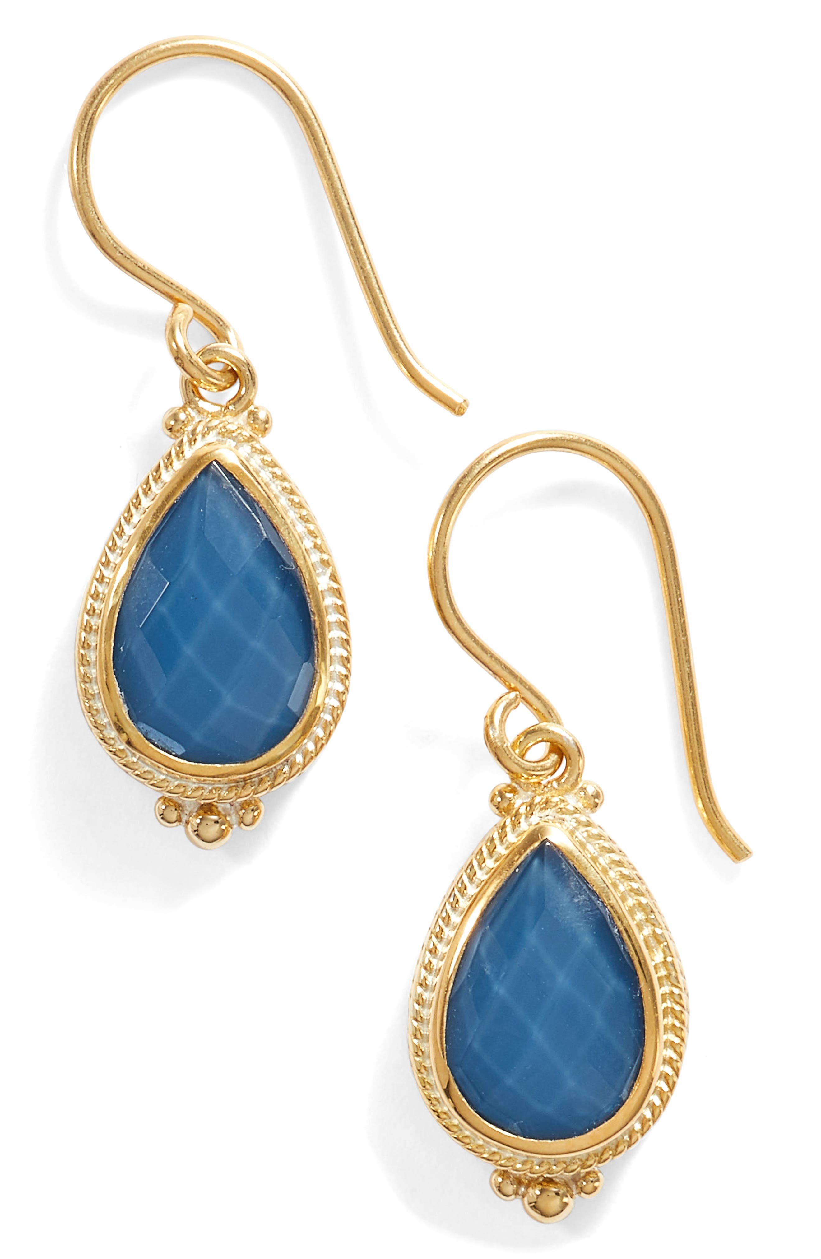 Blue Quartz Small Teardrop Earrings,                         Main,                         color, Gold/ Blue Quartz