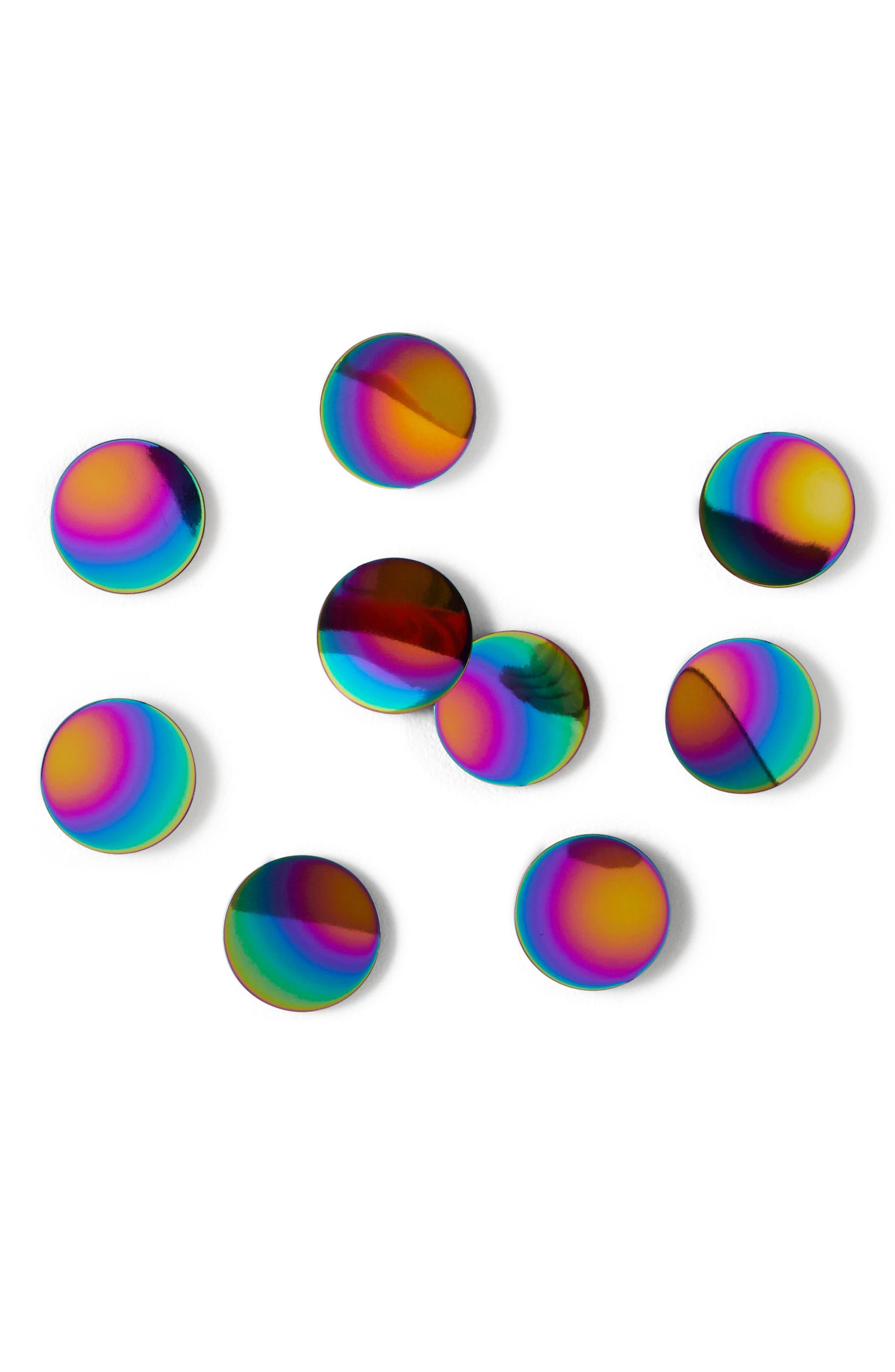 3D Confetti Dot Set of 10 Wall Decals,                             Main thumbnail 1, color,                             Rainbow