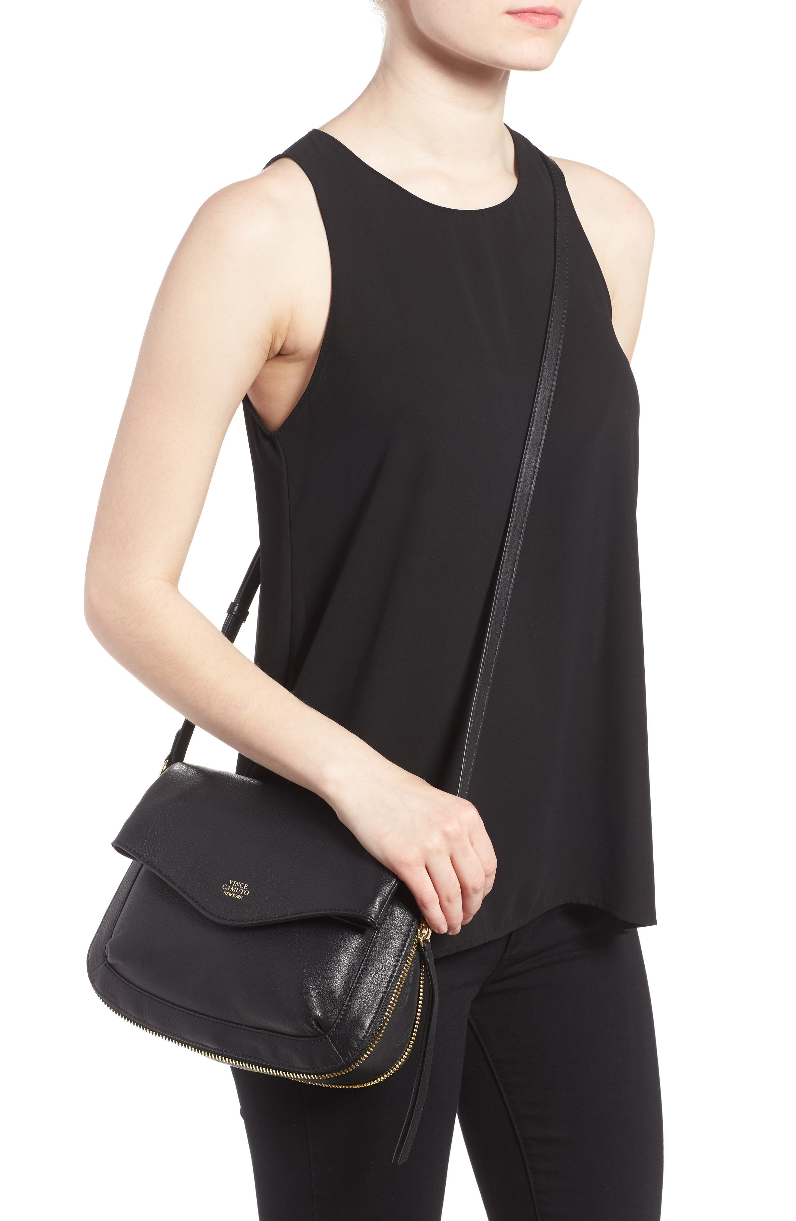 Dafni Leather Crossbody,                             Alternate thumbnail 2, color,                             Black