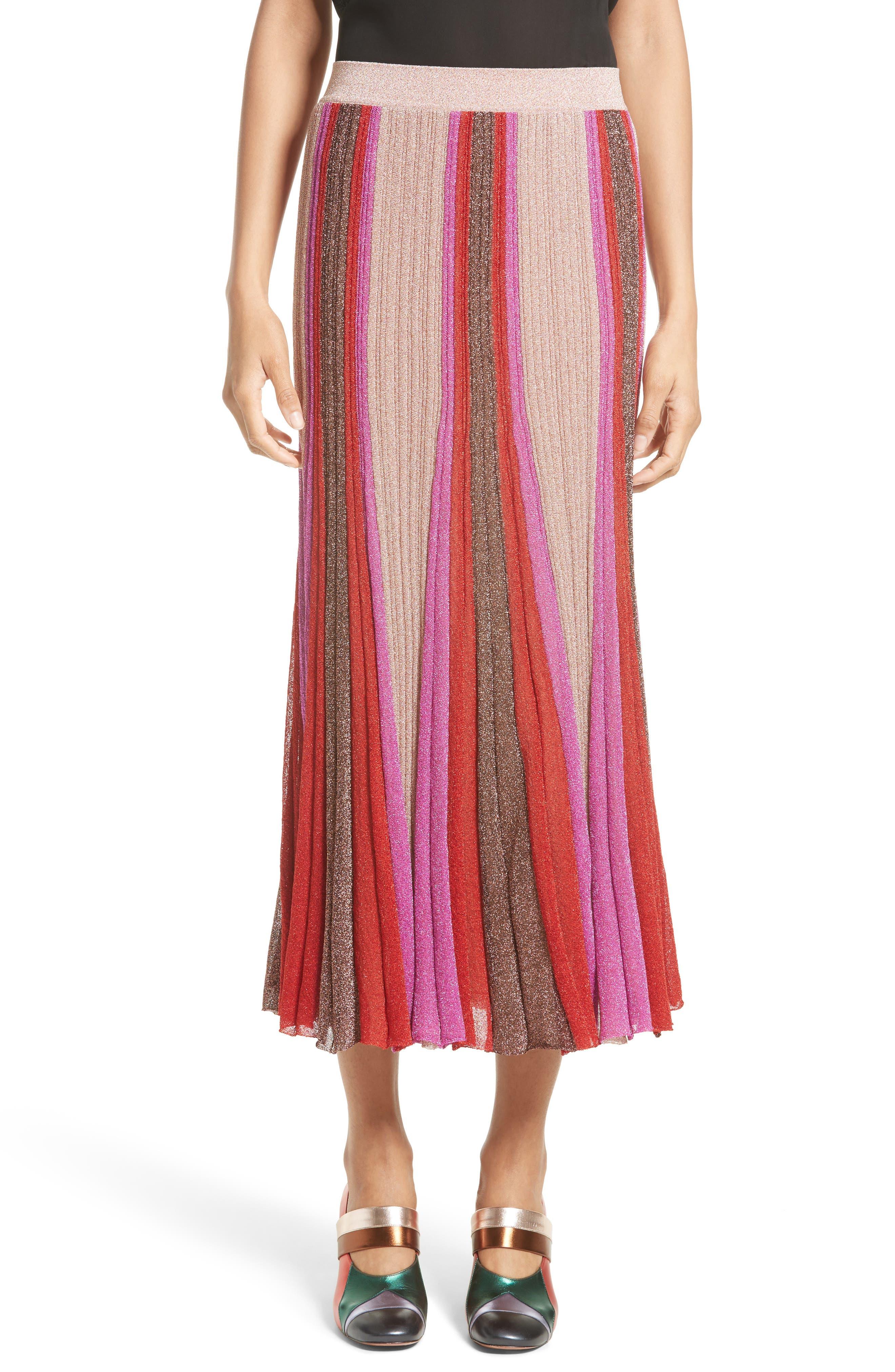 Metallic Knit Colorblock Pleated Skirt,                         Main,                         color, Pink Multi