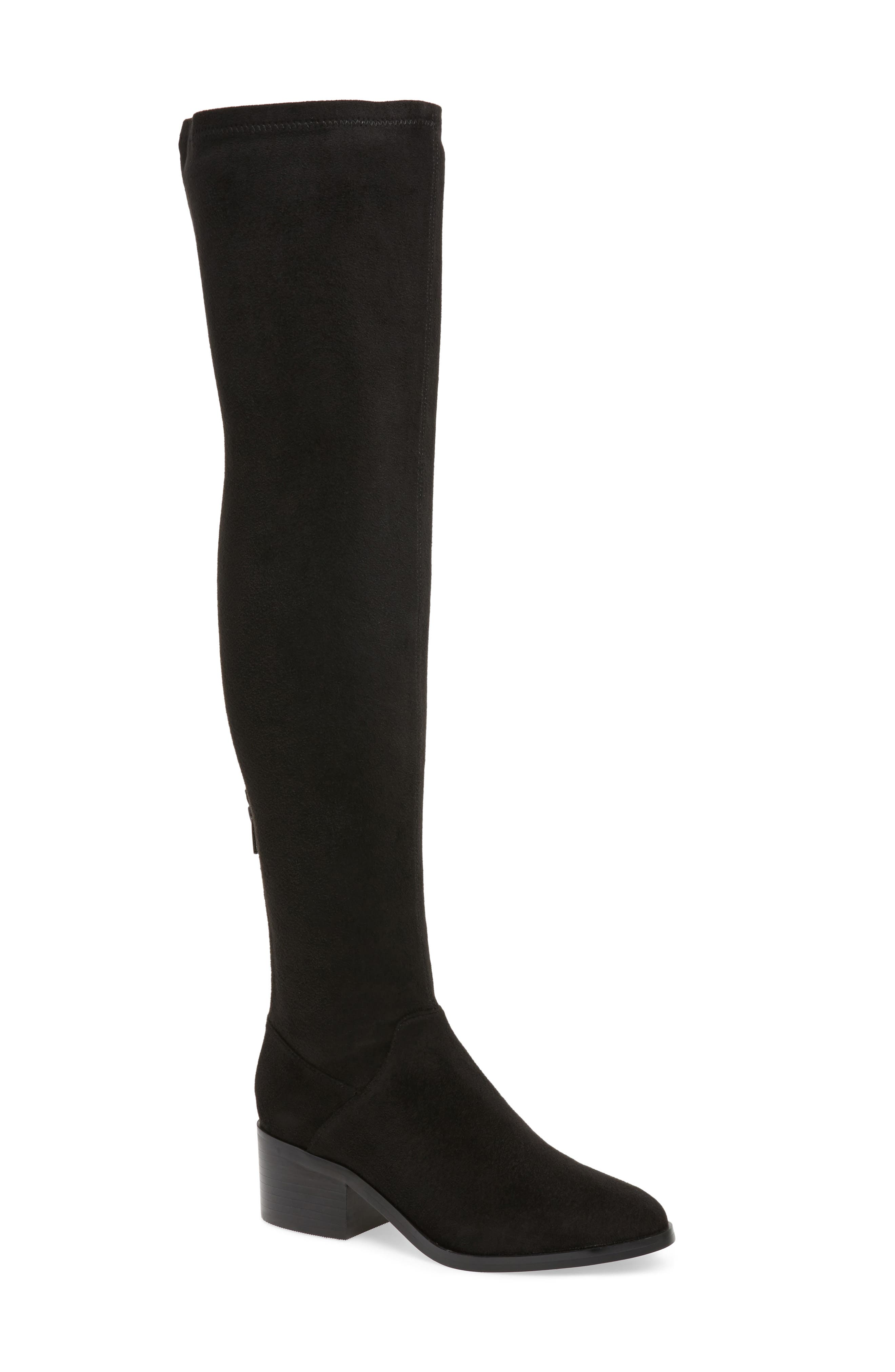 Gabbie Thigh High Boot,                             Main thumbnail 1, color,                             Black