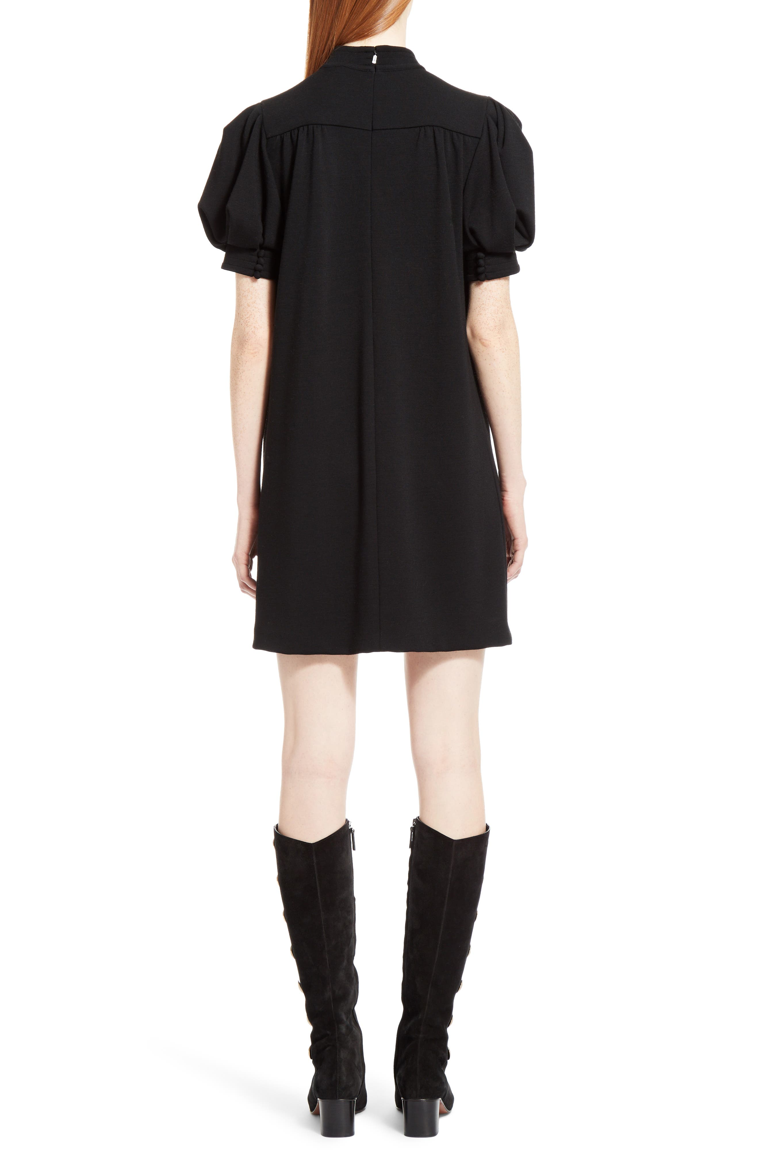 Wool Jersey Dress,                             Alternate thumbnail 2, color,                             Black