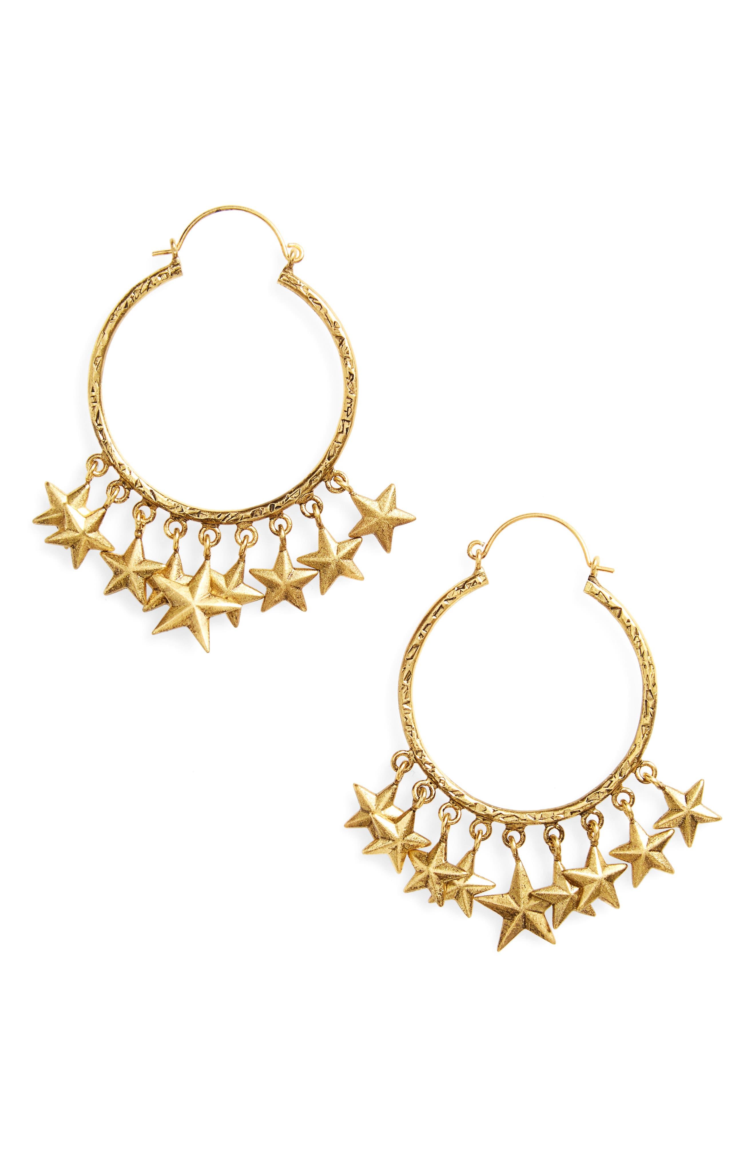 Alternate Image 1 Selected - Virgins Saints & Angels Star Hoop Earrings