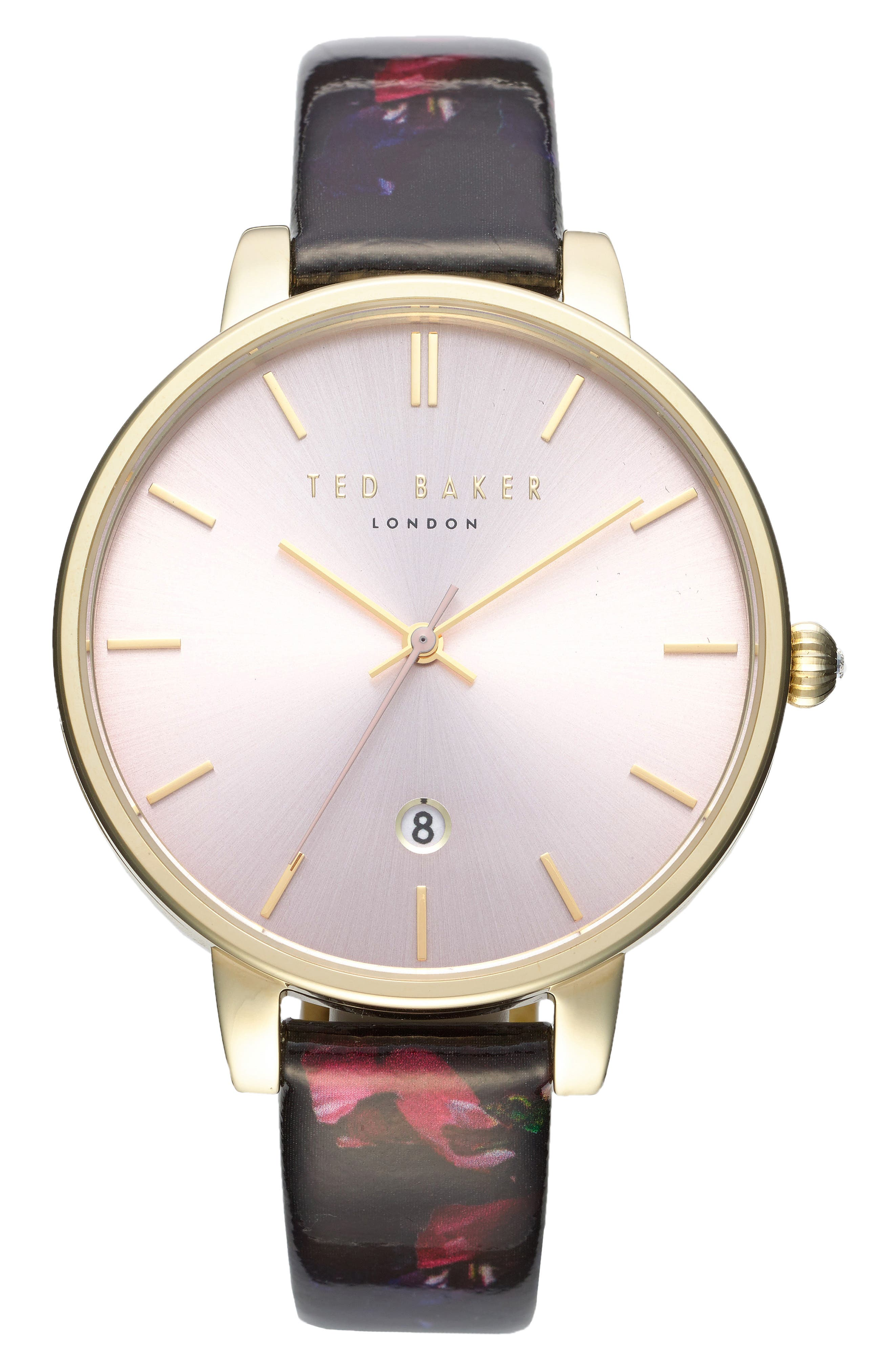 Kate Print Leather Strap Watch, 38mm,                         Main,                         color, Black/ Pink/ Gold
