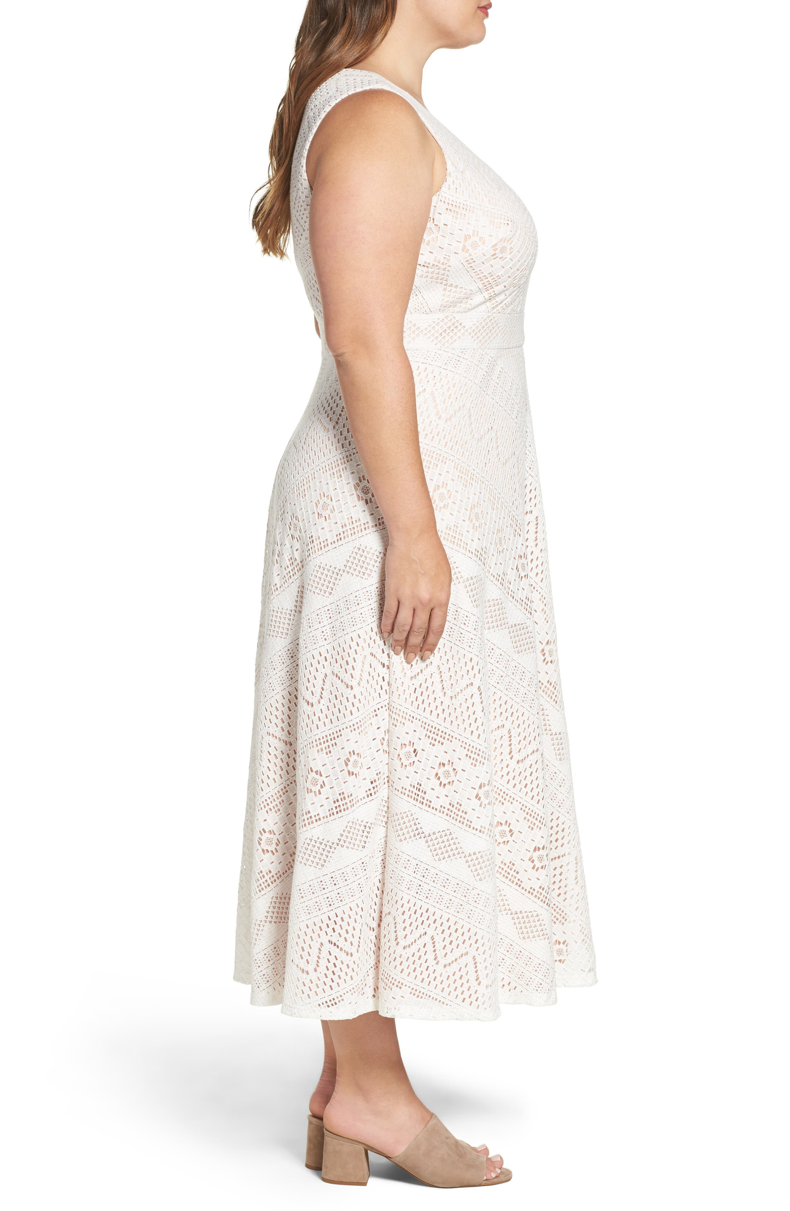 Alternate Image 4  - Vince Camuto Mitered Lace Midi Dress (Plus Size)