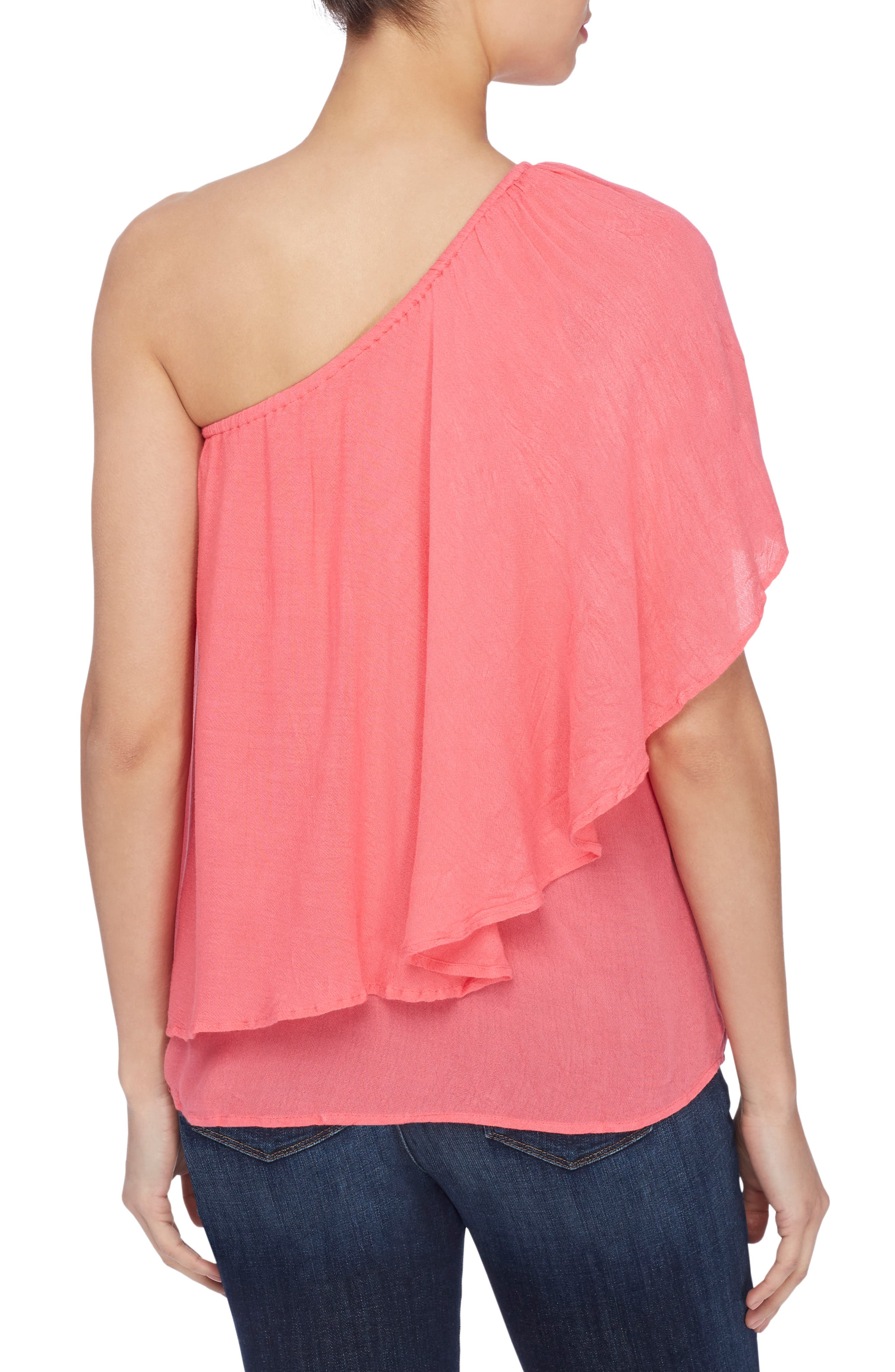 Magritte One-Shoulder Top,                             Alternate thumbnail 2, color,                             Azalea Pink