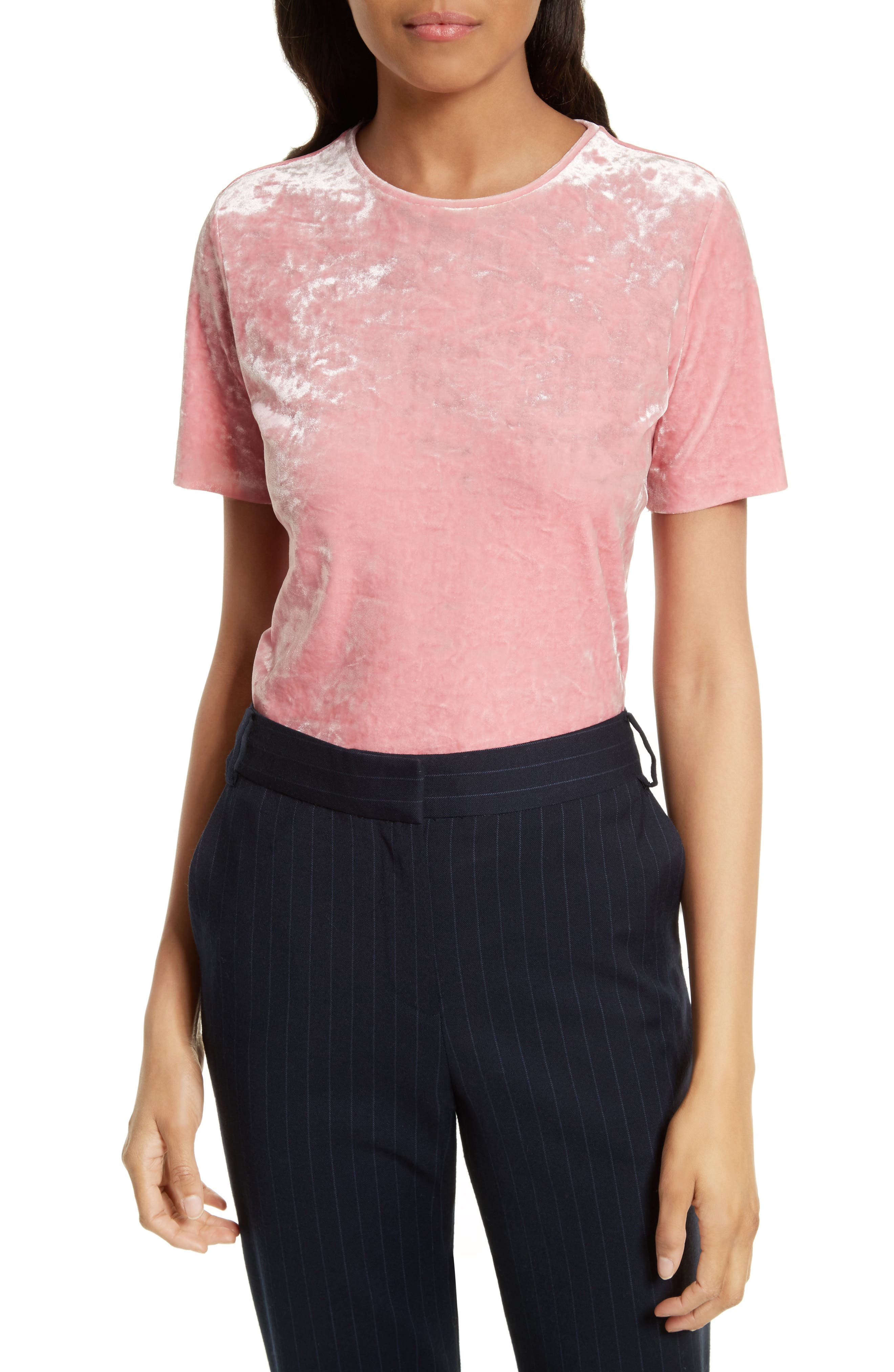 Stretch Velvet Baby Tee,                         Main,                         color, Calla Pink