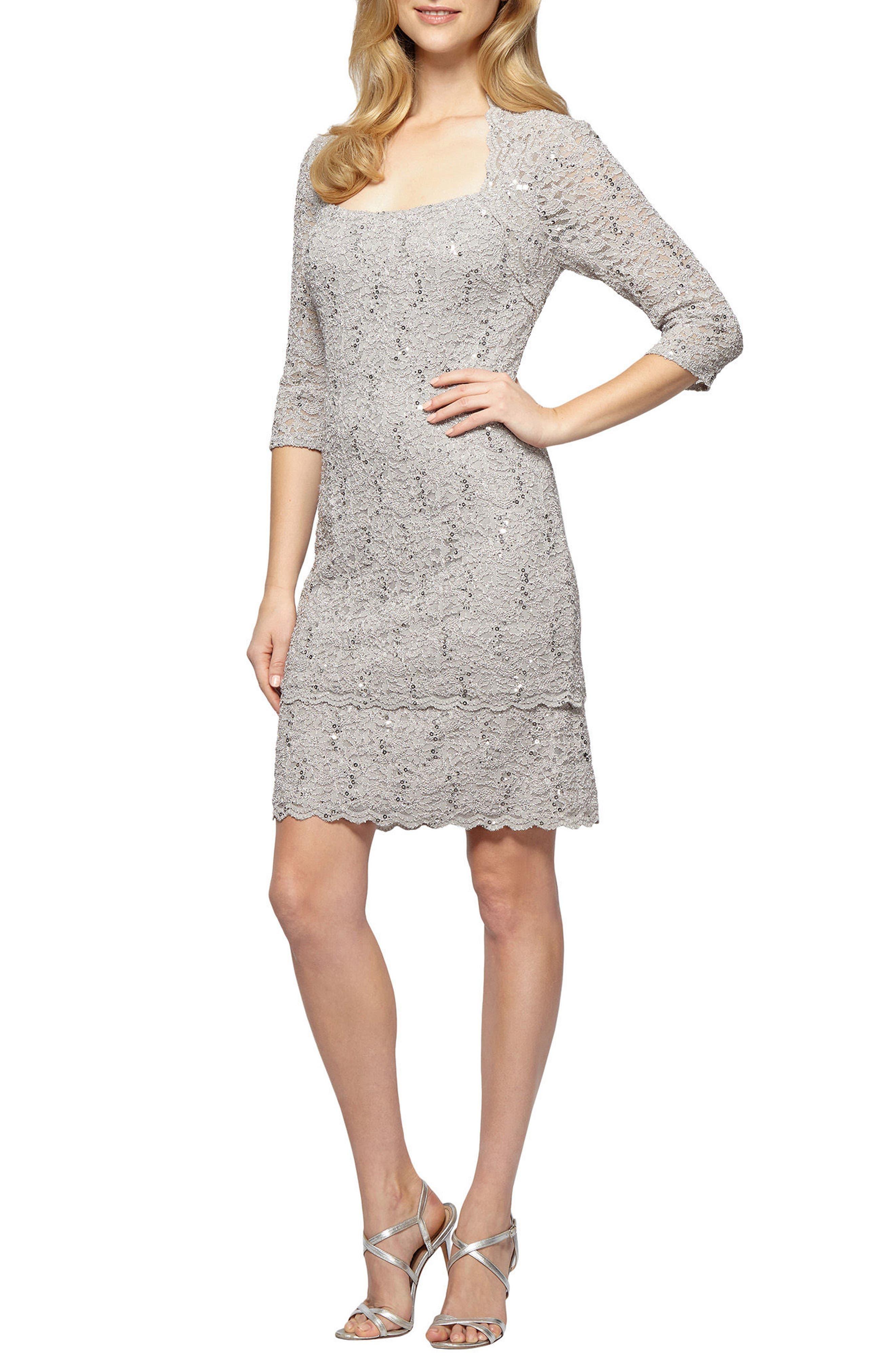 ALEX EVENINGS Sequin Lace Shift Dress
