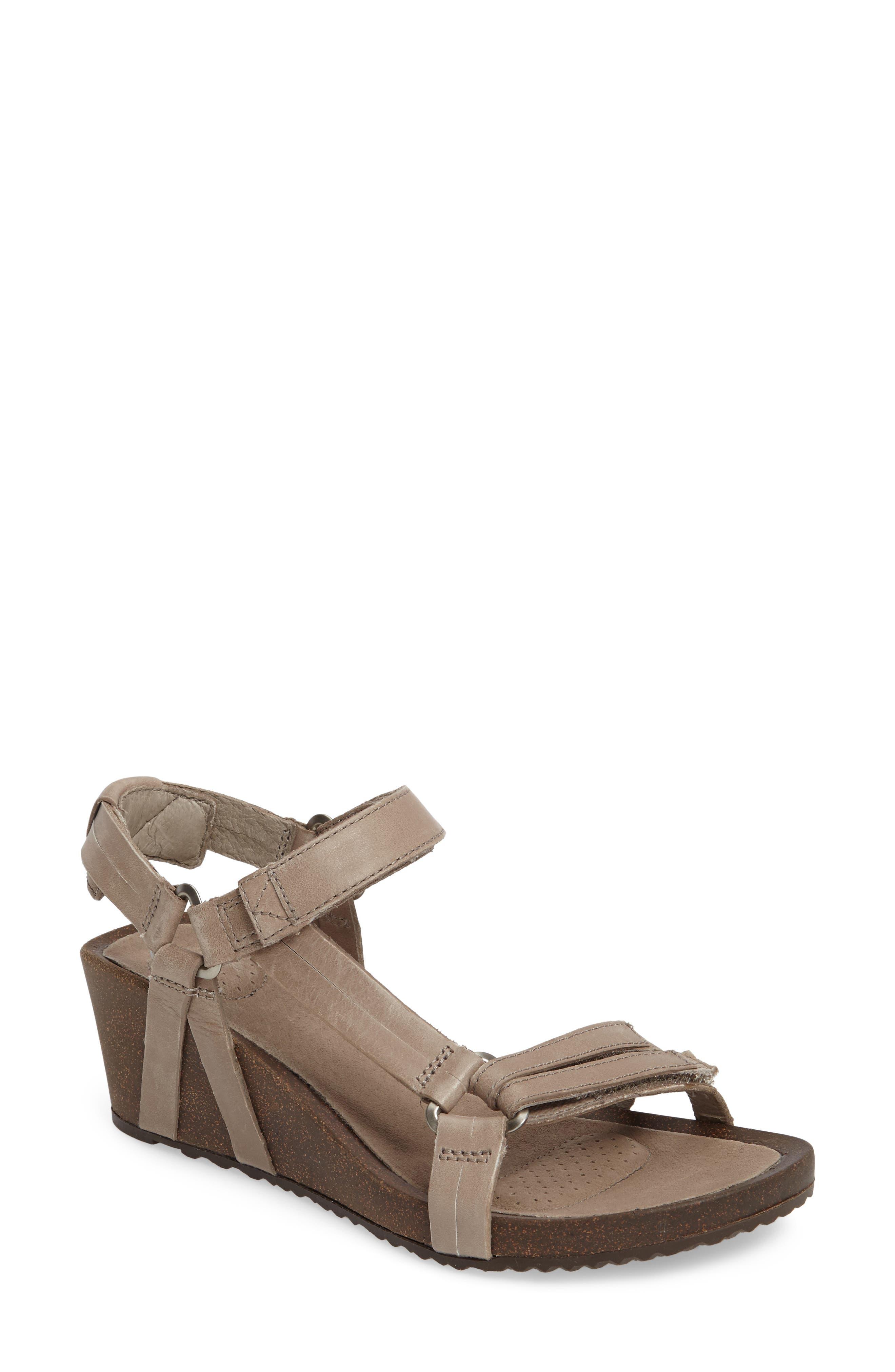 Ysidro Wedge Sandal,                             Main thumbnail 1, color,                             Taupe Leather