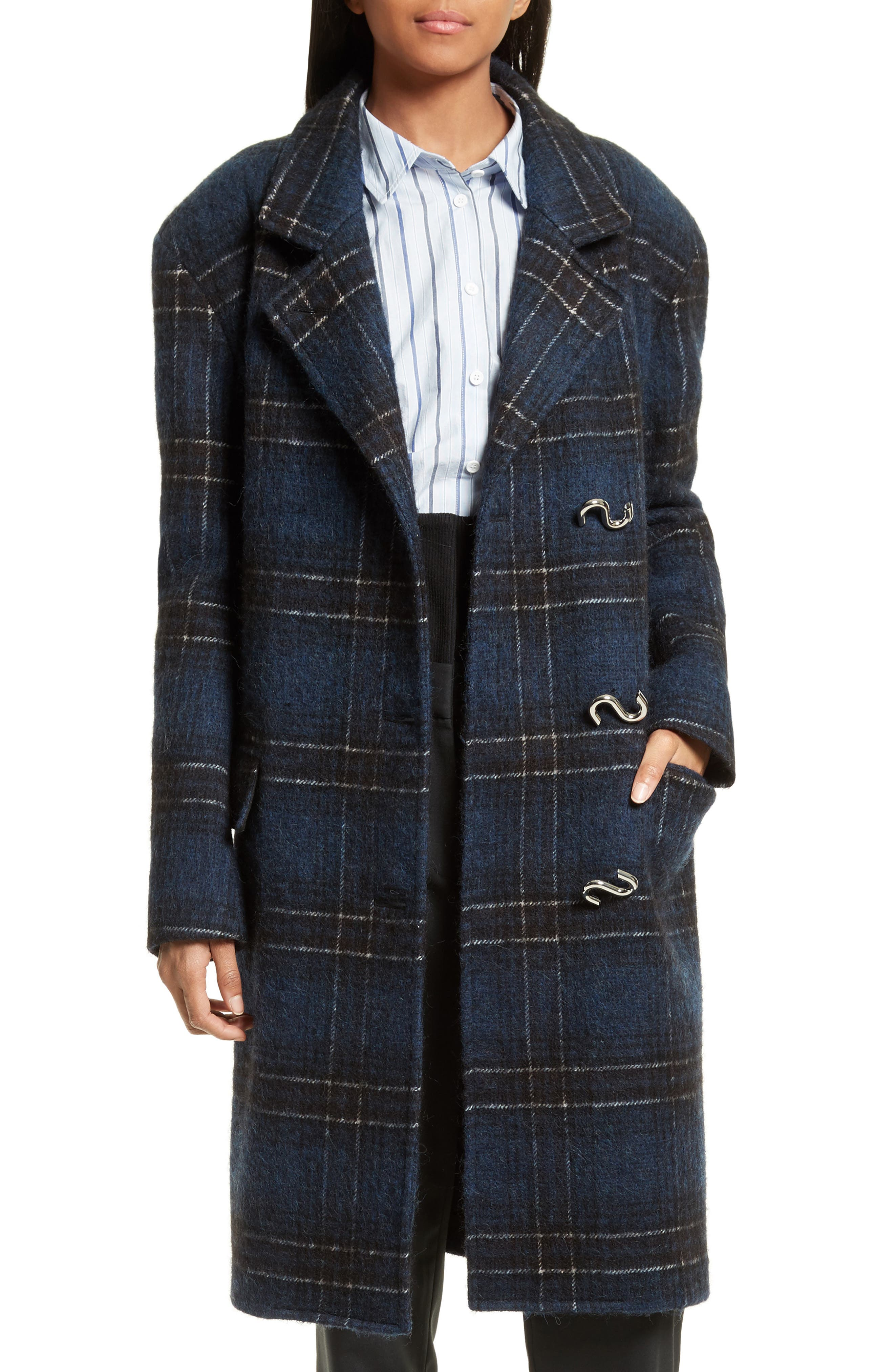 Dominic Plaid Oversize Coat,                             Main thumbnail 1, color,                             Navy Multi