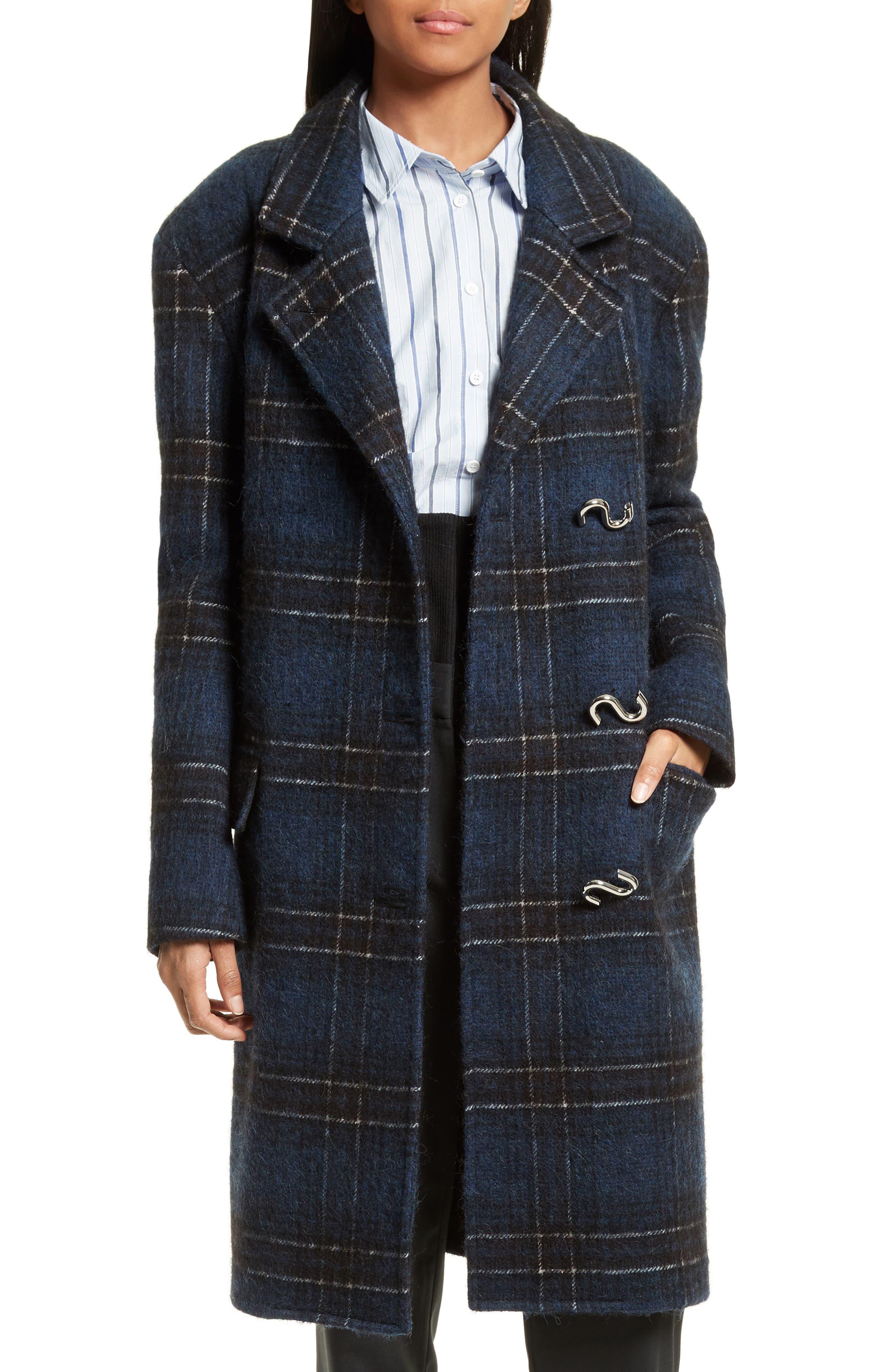 Dominic Plaid Oversize Coat,                         Main,                         color, Navy Multi