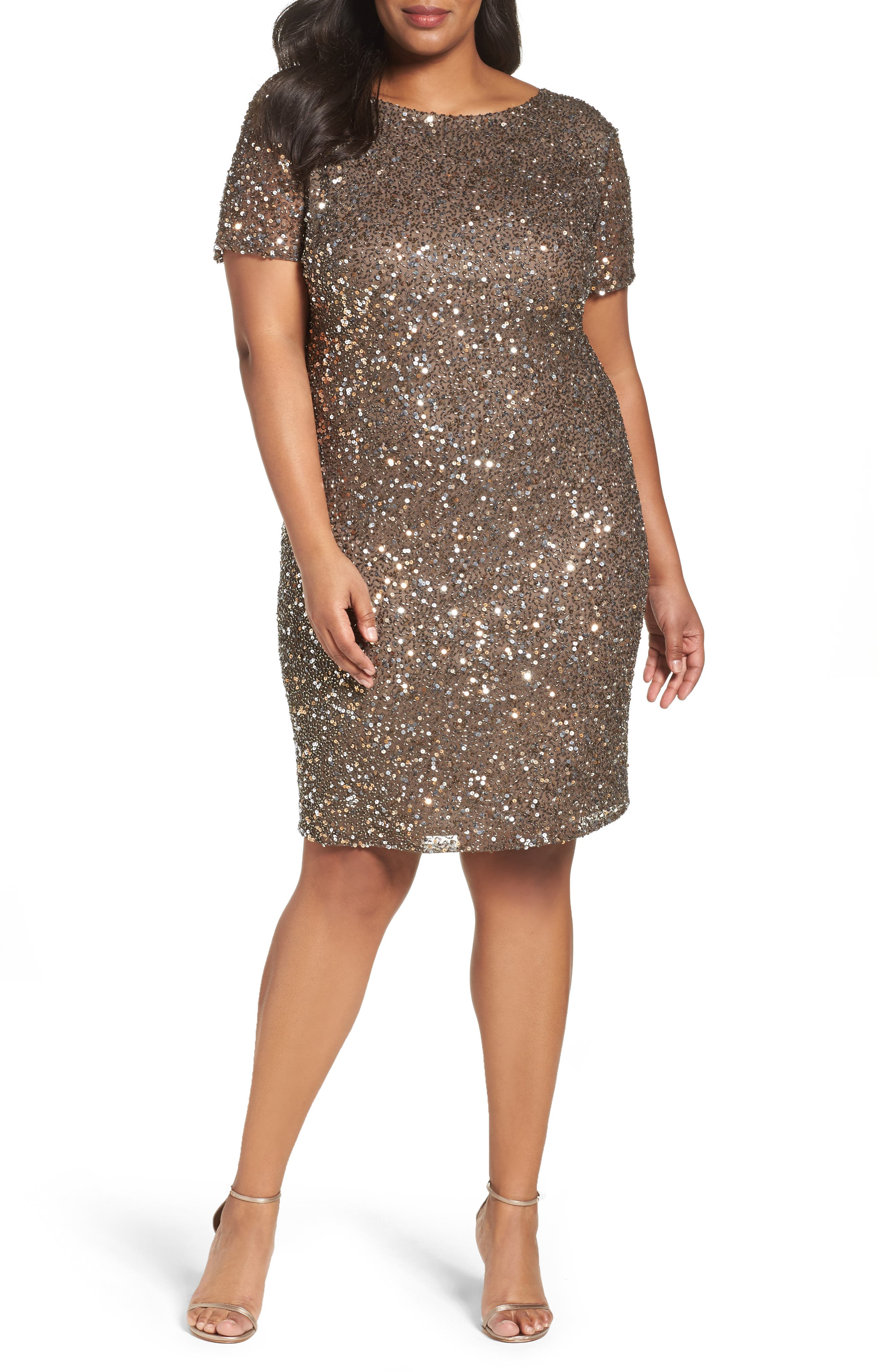 Main Image - Pisarro Nights Embellished Cocktail Dress (Plus Size)