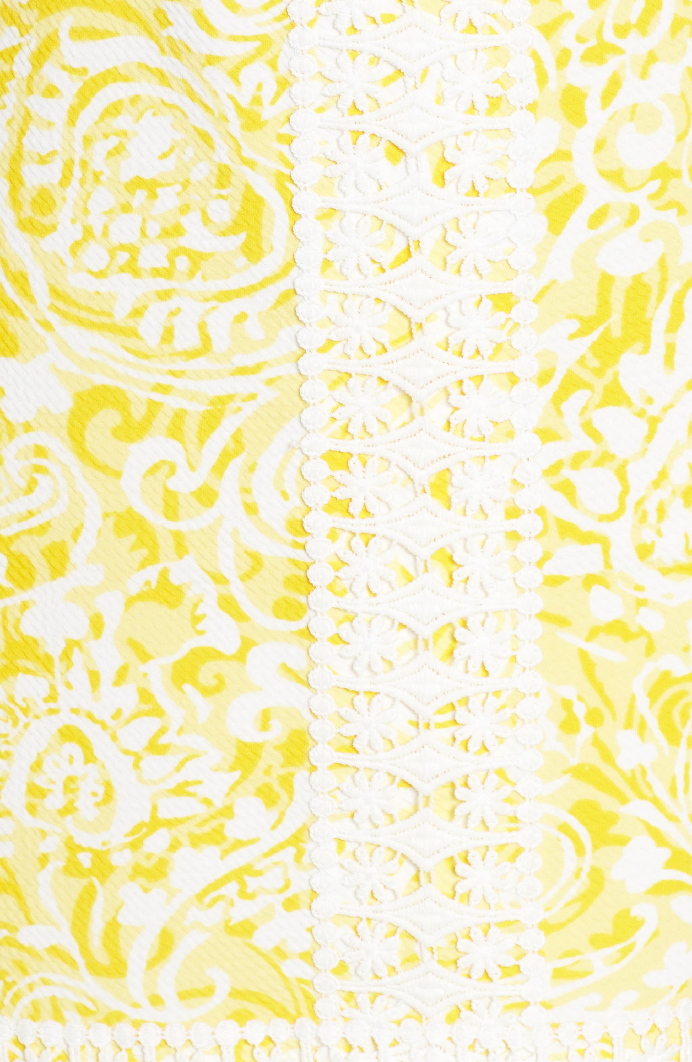 Print Shift Dress,                             Alternate thumbnail 4, color,                             Yellow