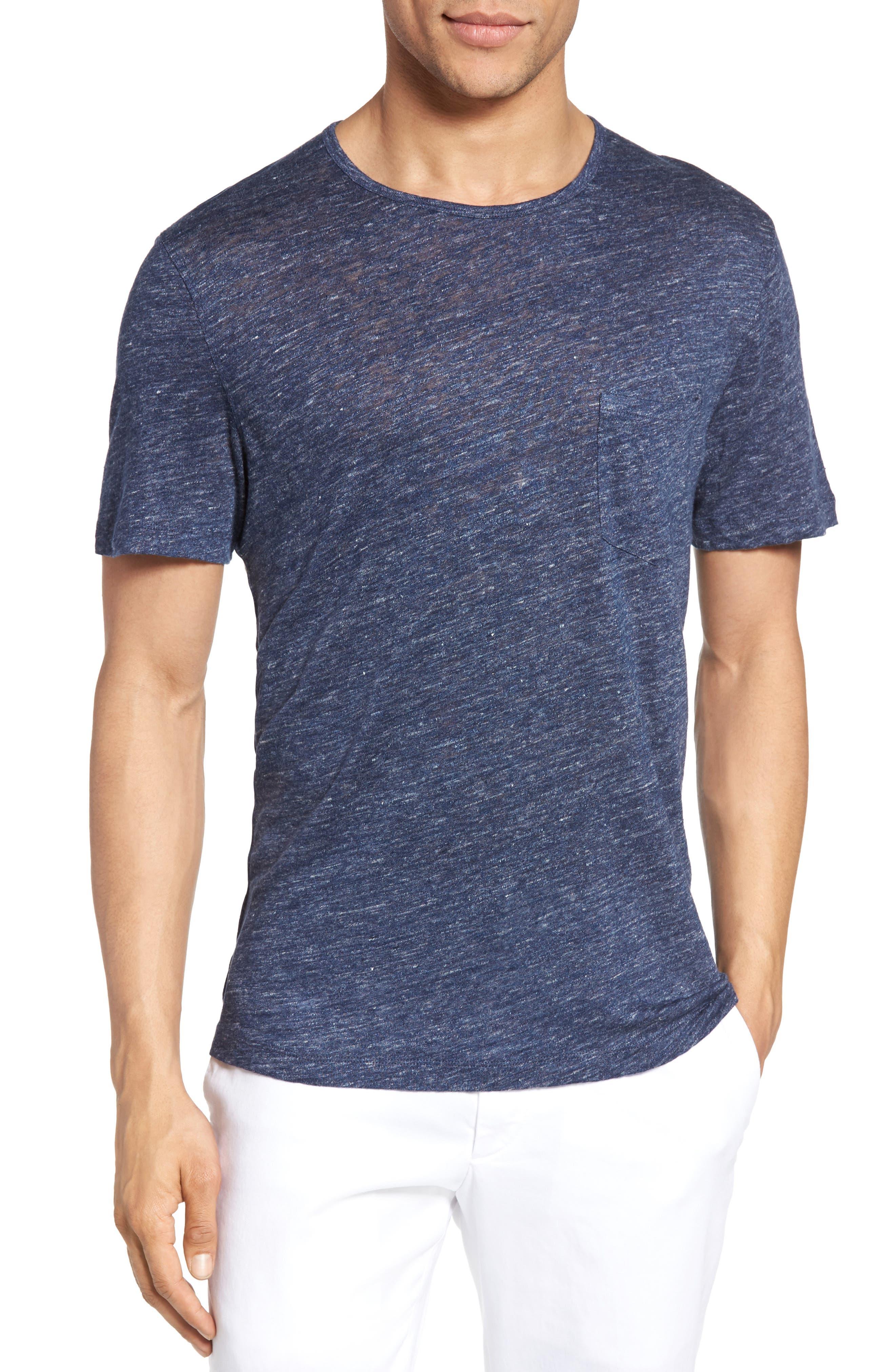 Monad Colorblock Linen T-Shirt,                         Main,                         color, Blue Mountain
