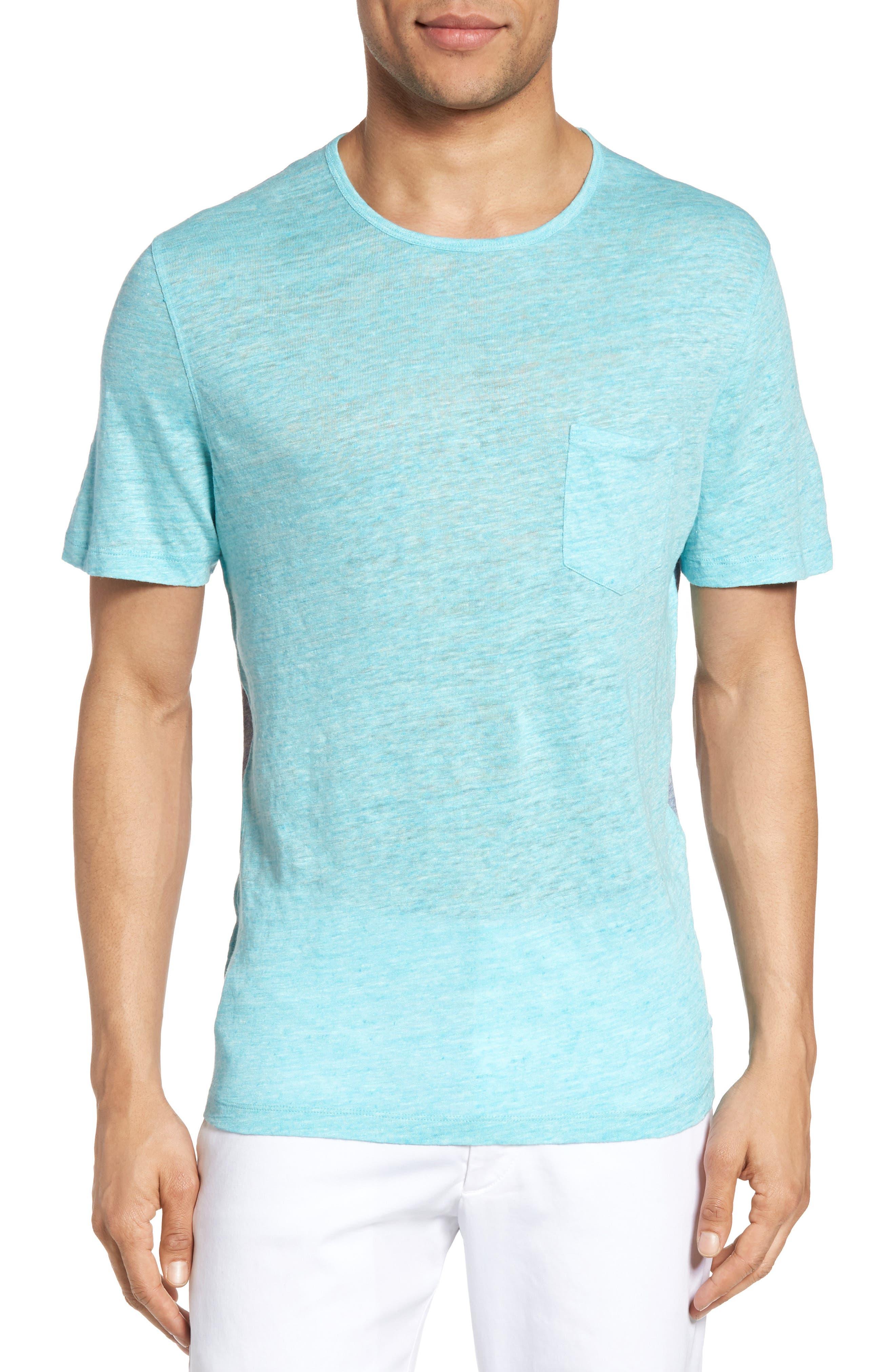 Monad Colorblock Linen T-Shirt,                         Main,                         color, Aqua