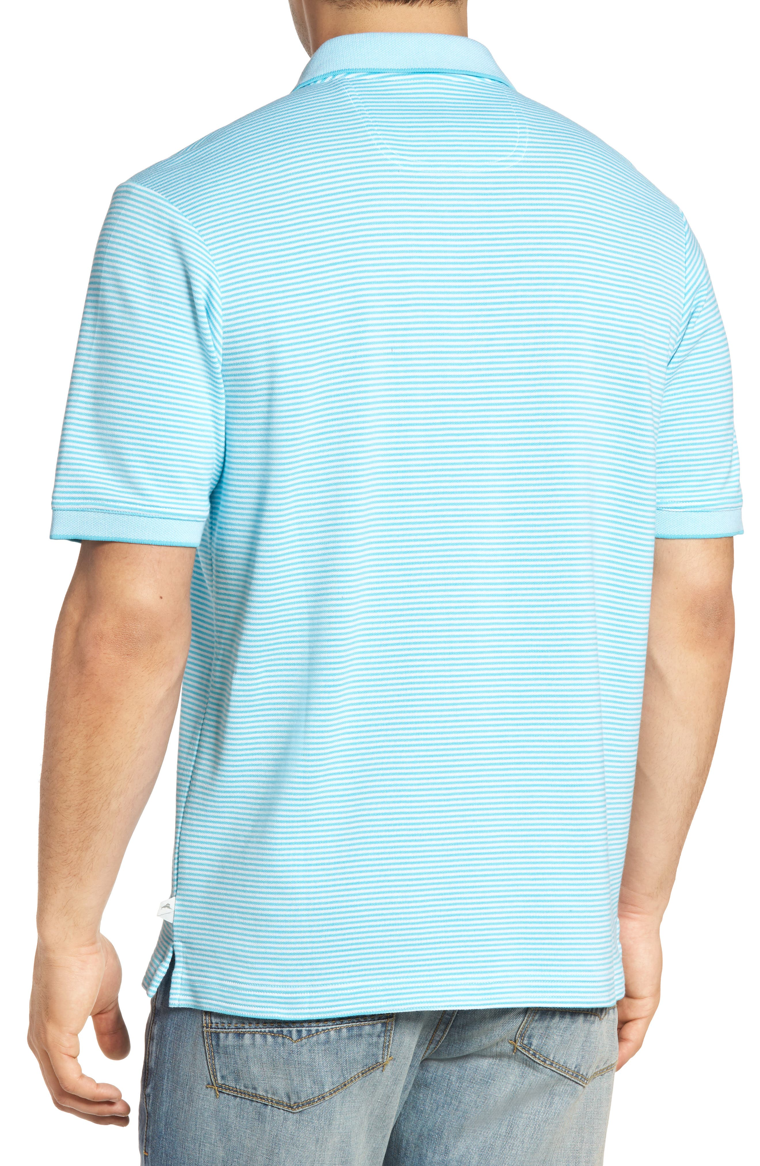 Emfielder Stripe Pima Cotton Blend Polo,                             Alternate thumbnail 2, color,                             Clear Ocean