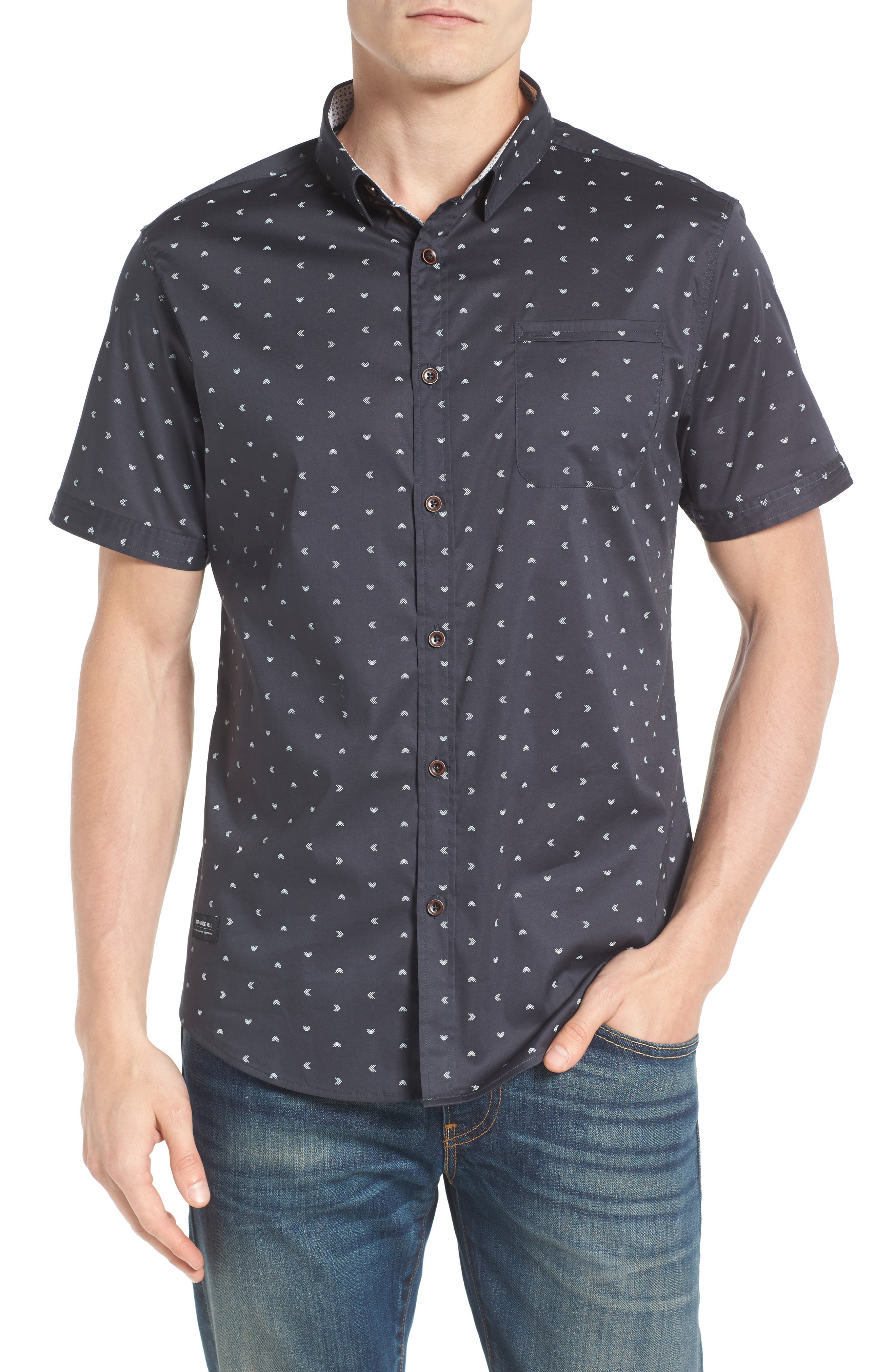 Rising Water Print Woven Shirt,                         Main,                         color, Charcoal