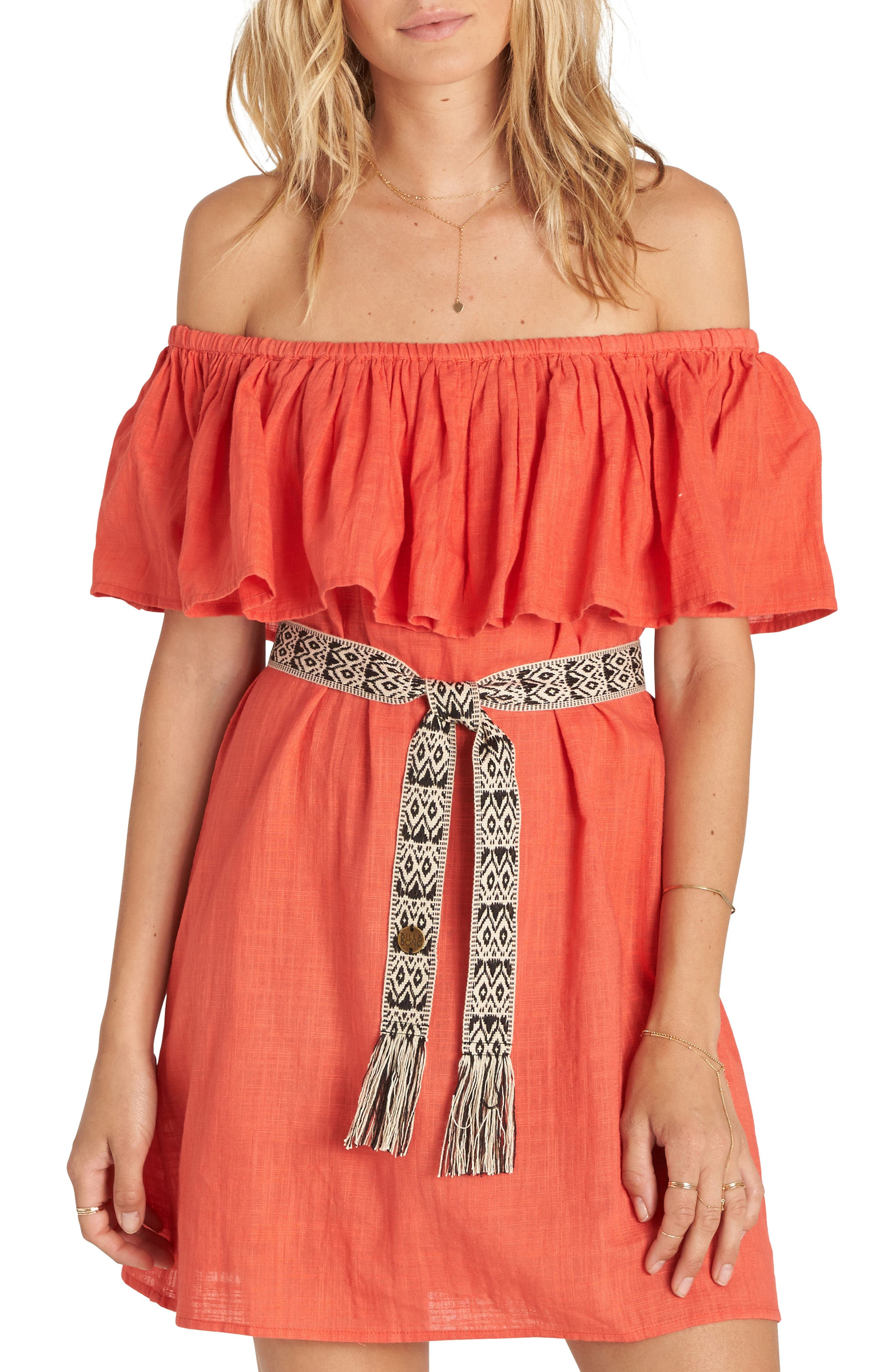 Billabong Mi Bonita Off the Shoulder Ruffle Dress