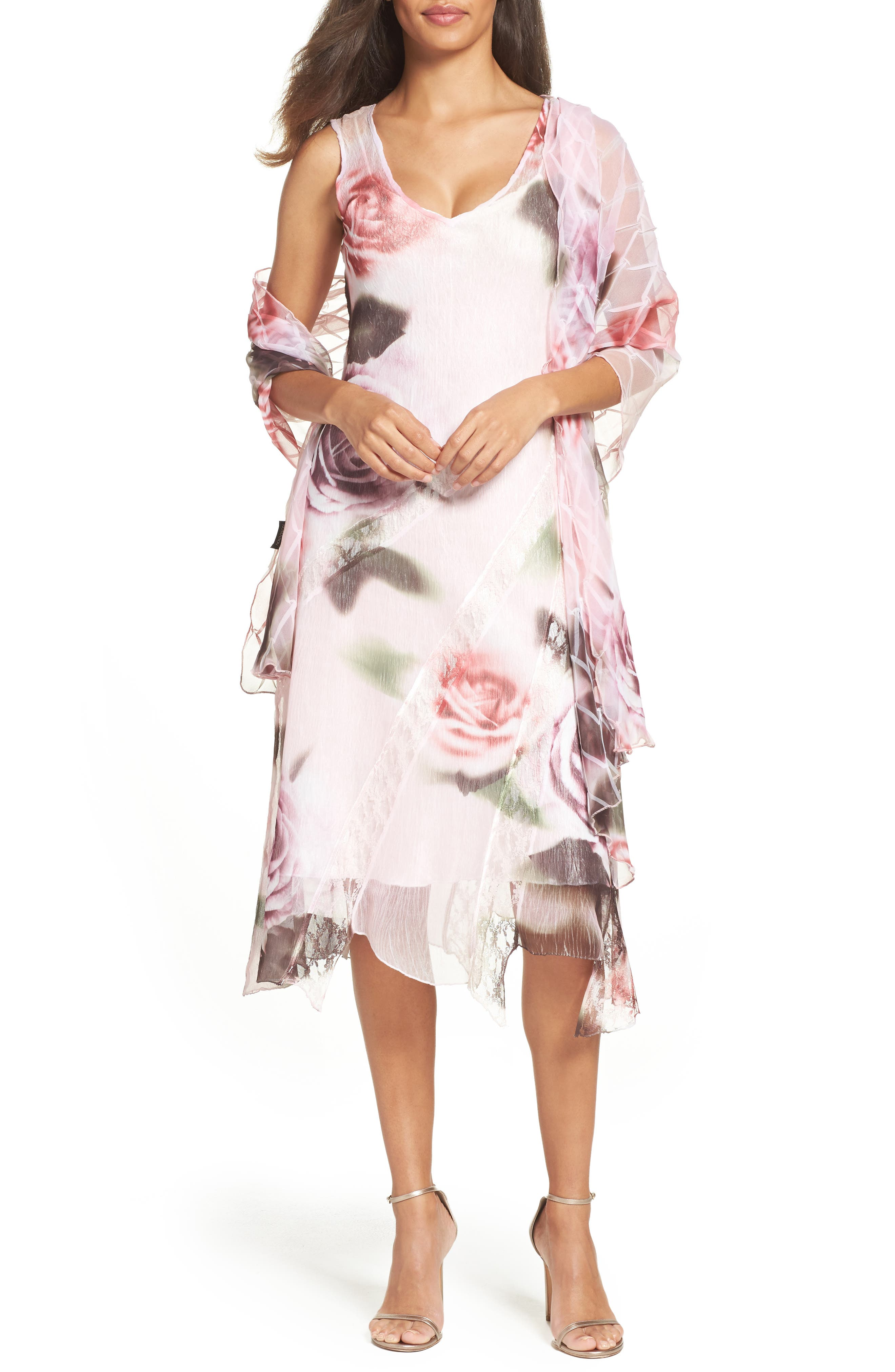 KOMAROV Sheath Dress & Shawl