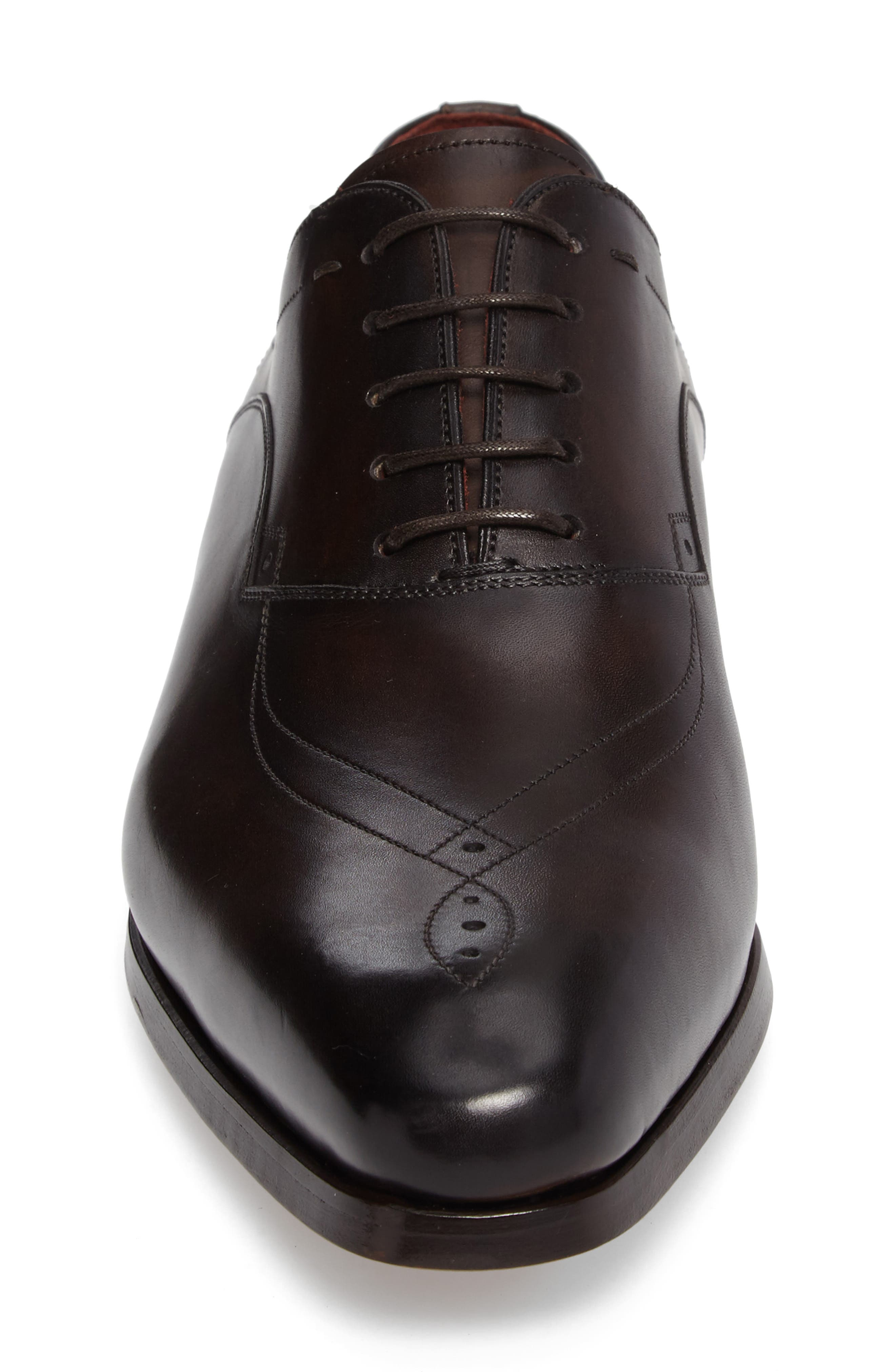 Francisco Plain Toe Oxford,                             Alternate thumbnail 4, color,                             Brown Leather