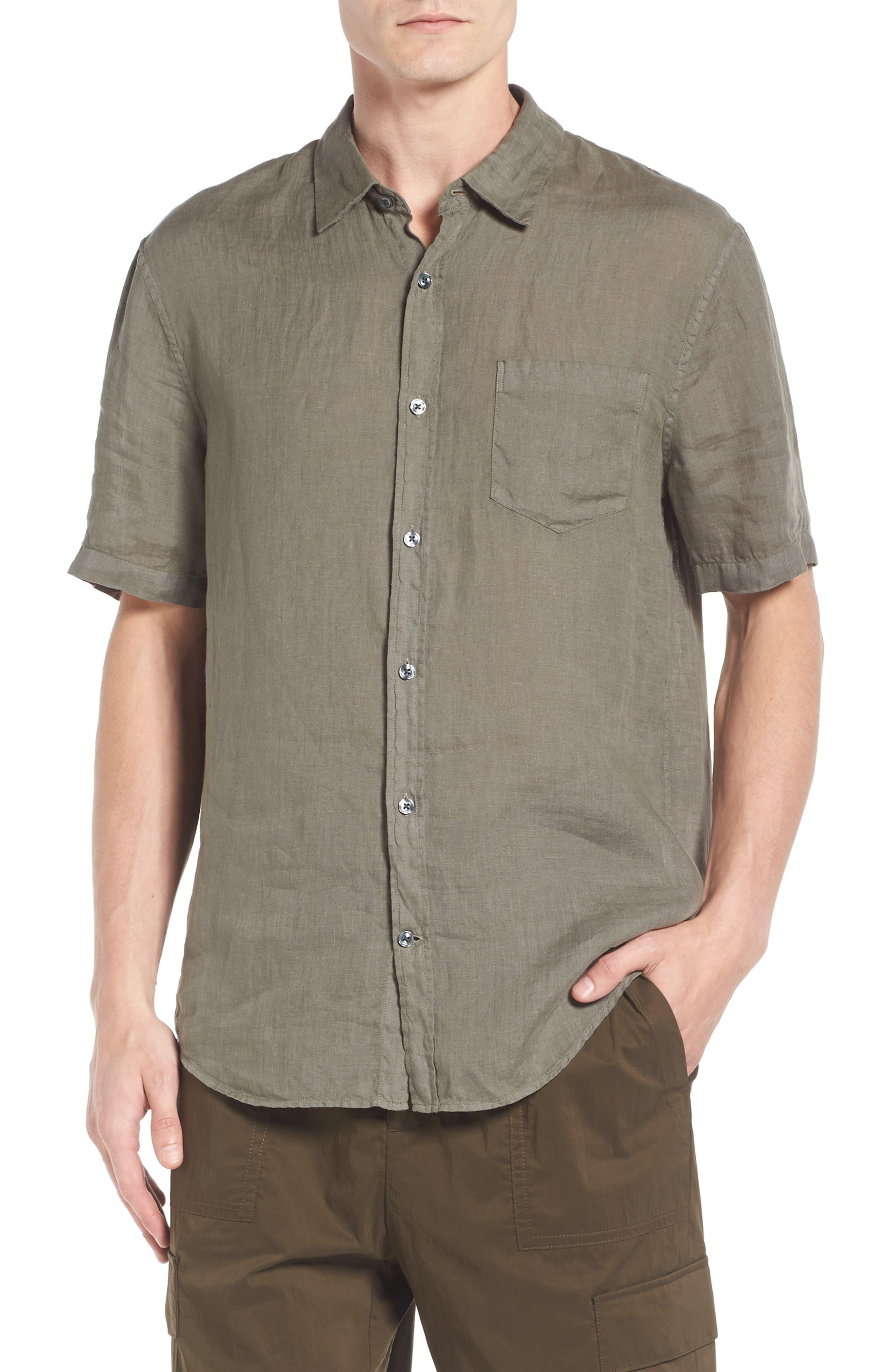 Trim Fit Linen Sport Shirt,                             Main thumbnail 1, color,                             Desert Green