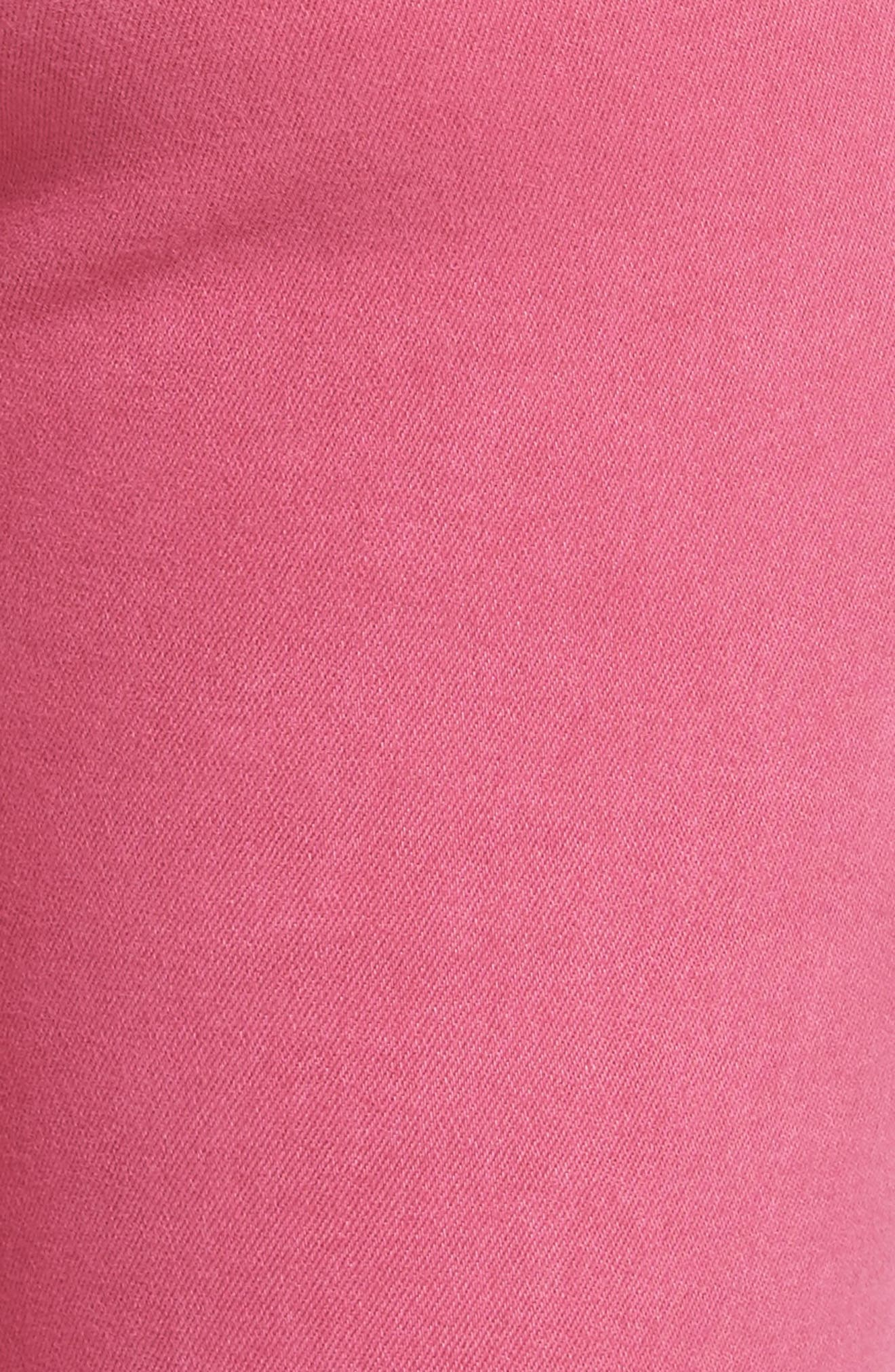 Alternate Image 5  - KUT from the Kloth Connie Frayed Hem Crop Skinny Jeans (Hot Pink)