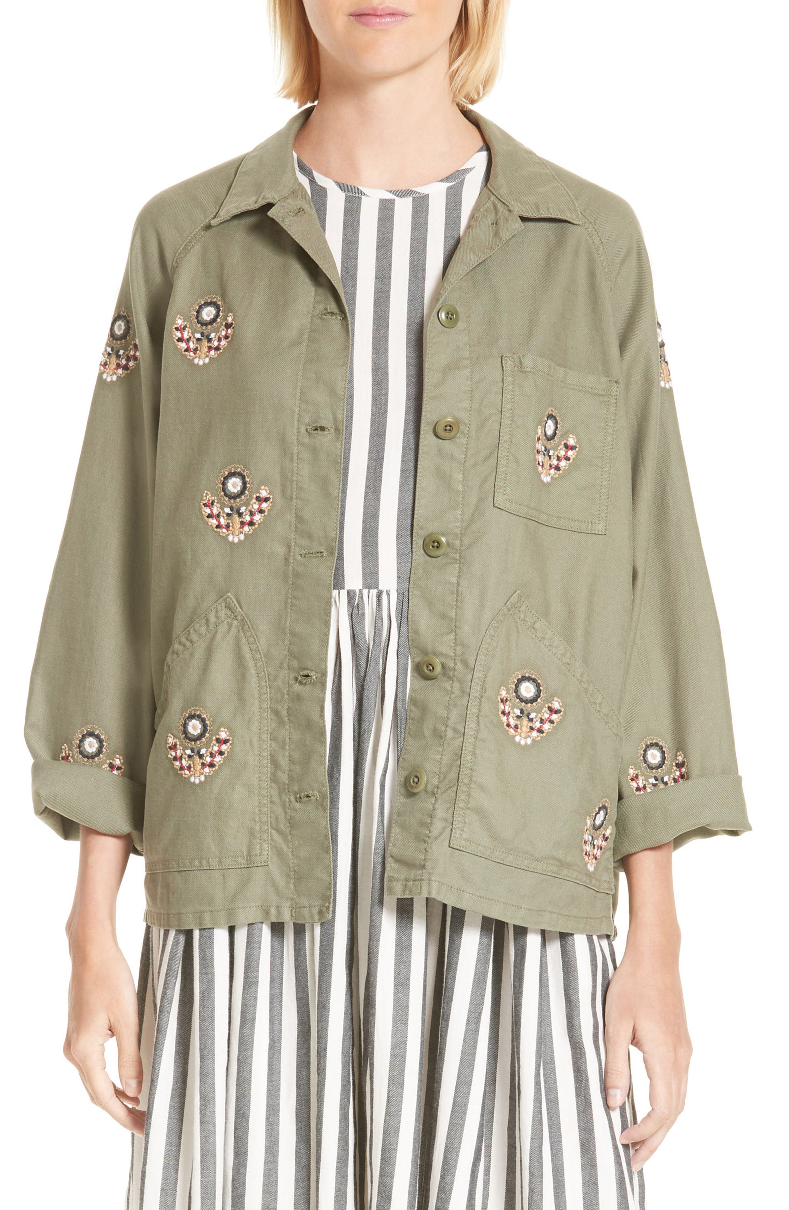 The Field Jacket,                         Main,                         color, Willow Green W Flower Emb