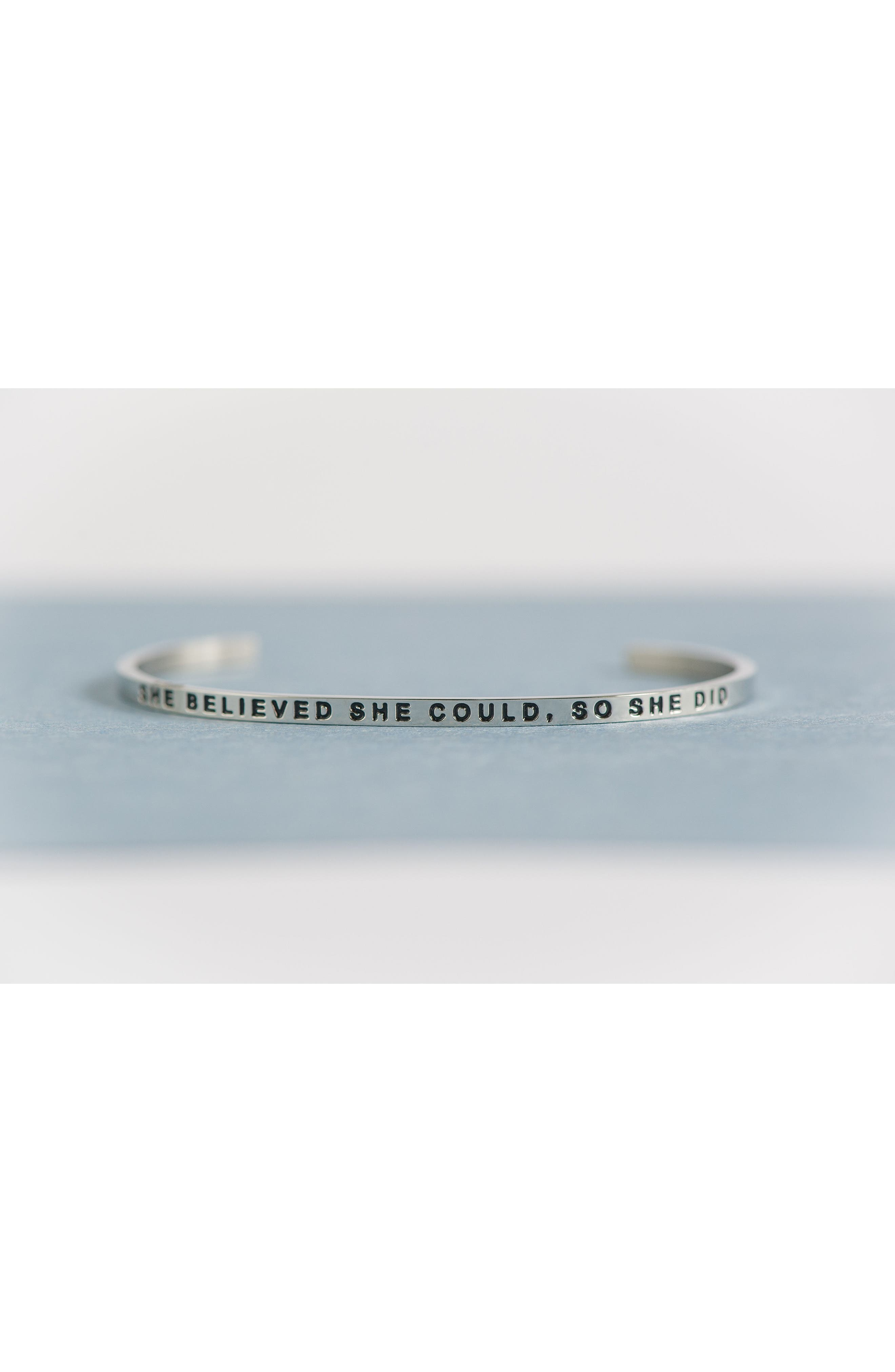 'She Believed She Could' Cuff,                             Alternate thumbnail 3, color,                             Silver