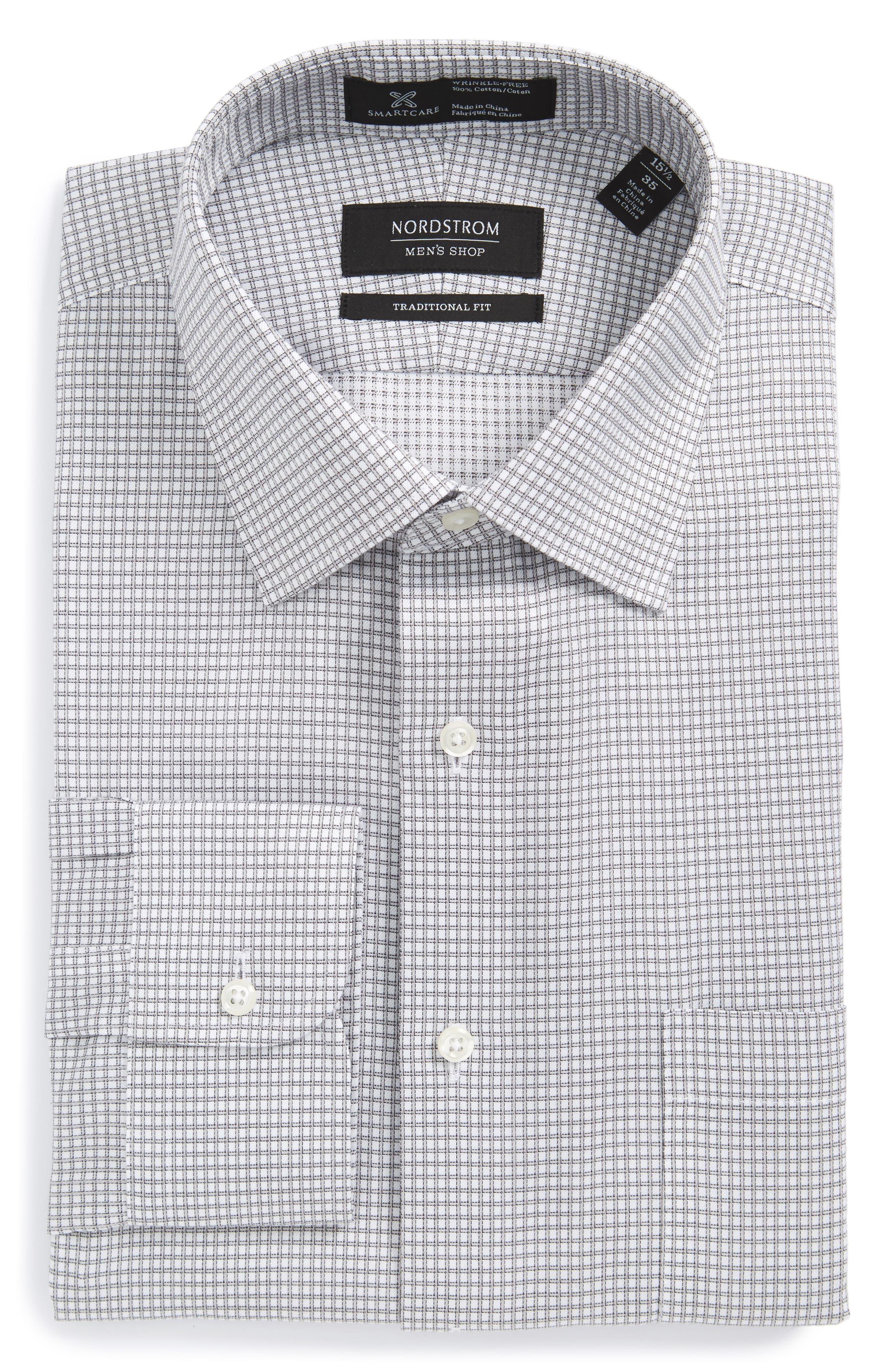 Smartcare<sup>™</sup> Traditional Fit Check Dress Shirt,                             Main thumbnail 1, color,                             Grey Silk