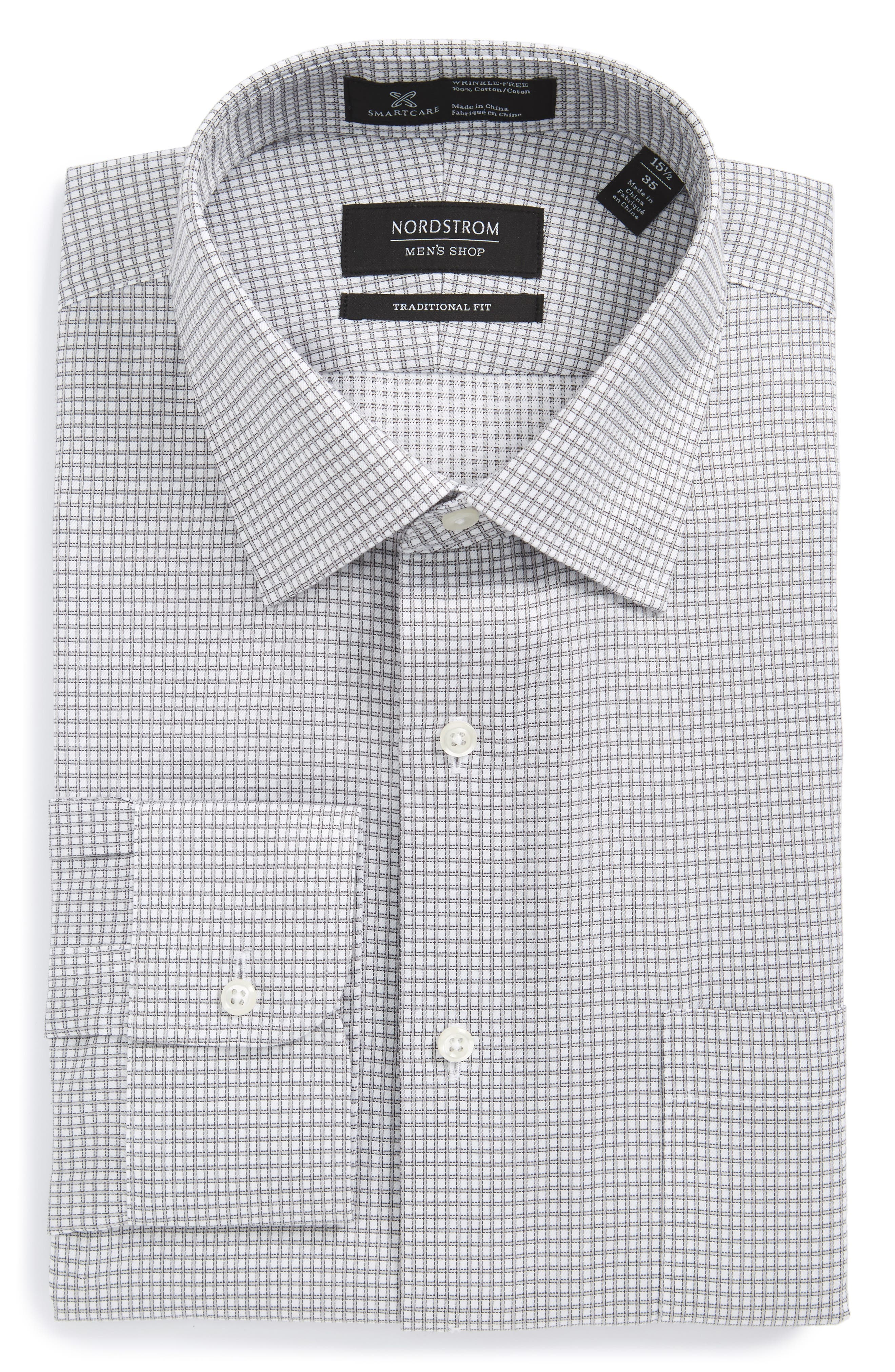Smartcare<sup>™</sup> Traditional Fit Check Dress Shirt,                         Main,                         color, Grey Silk