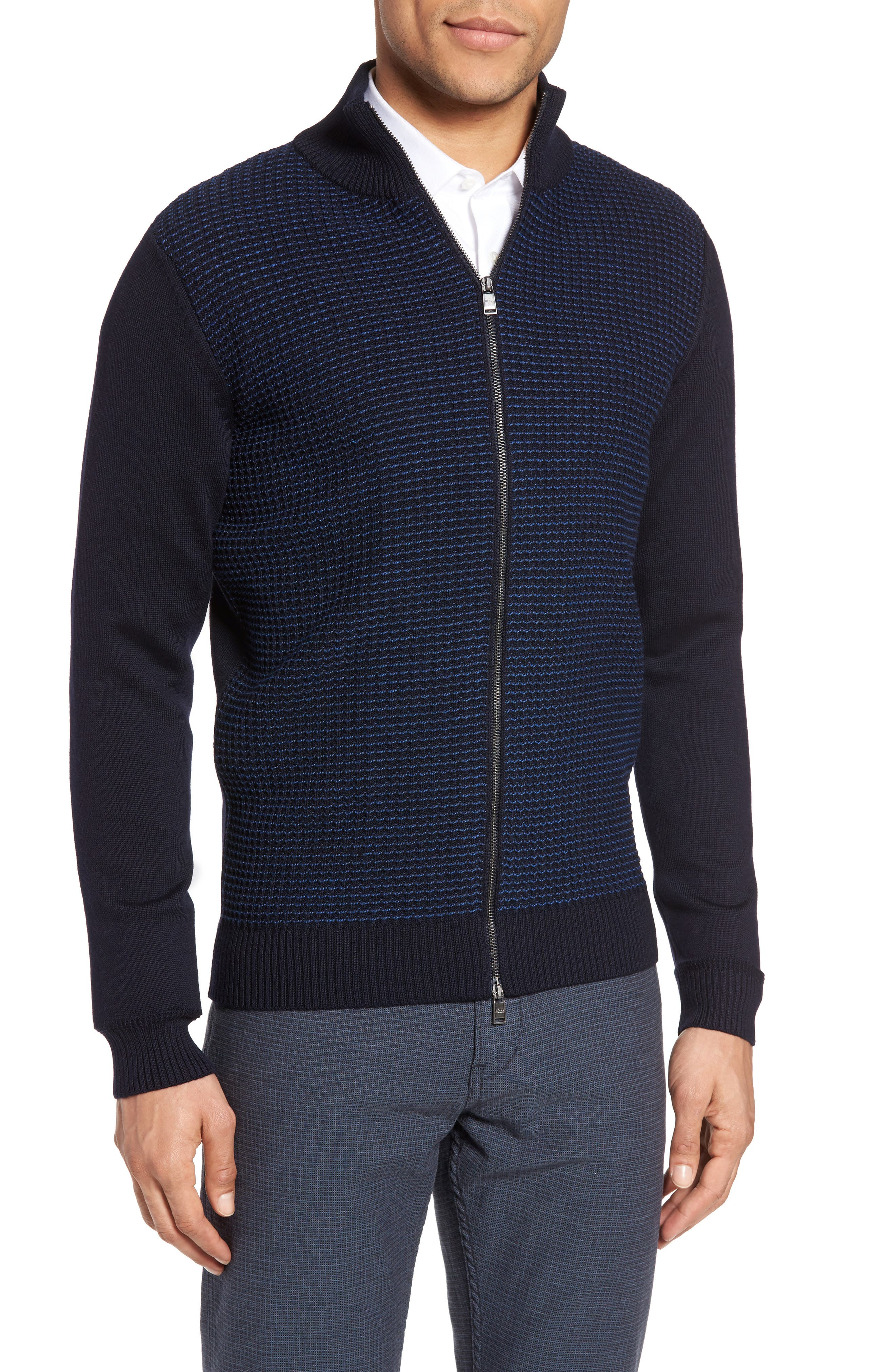 Bacco Full Zip Wool Sweater Jacket,                         Main,                         color, Navy