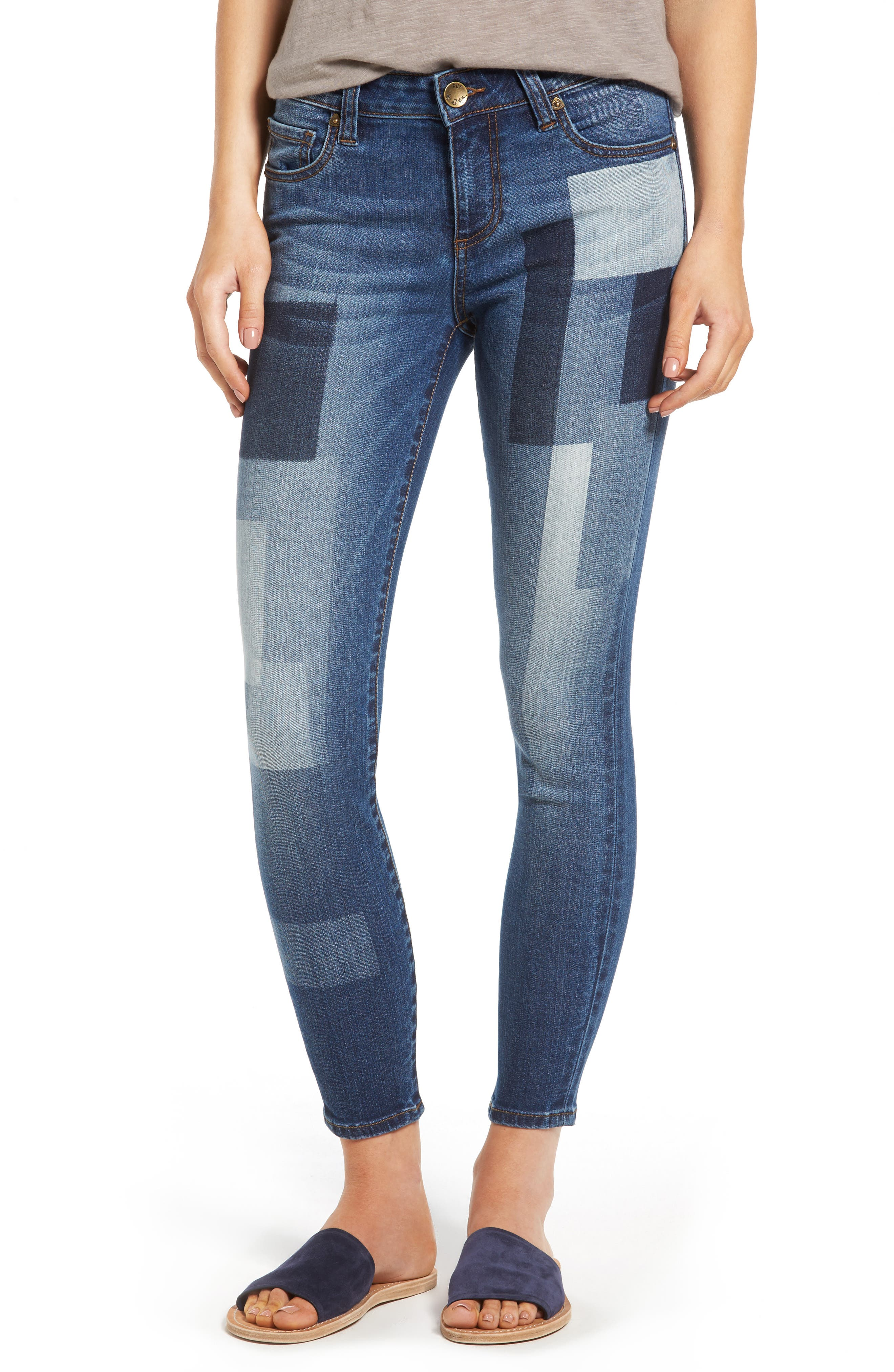 Main Image - KUT from the Kloth Patchwork Fade Skinny Jeans (Coequal/Dark Stone)