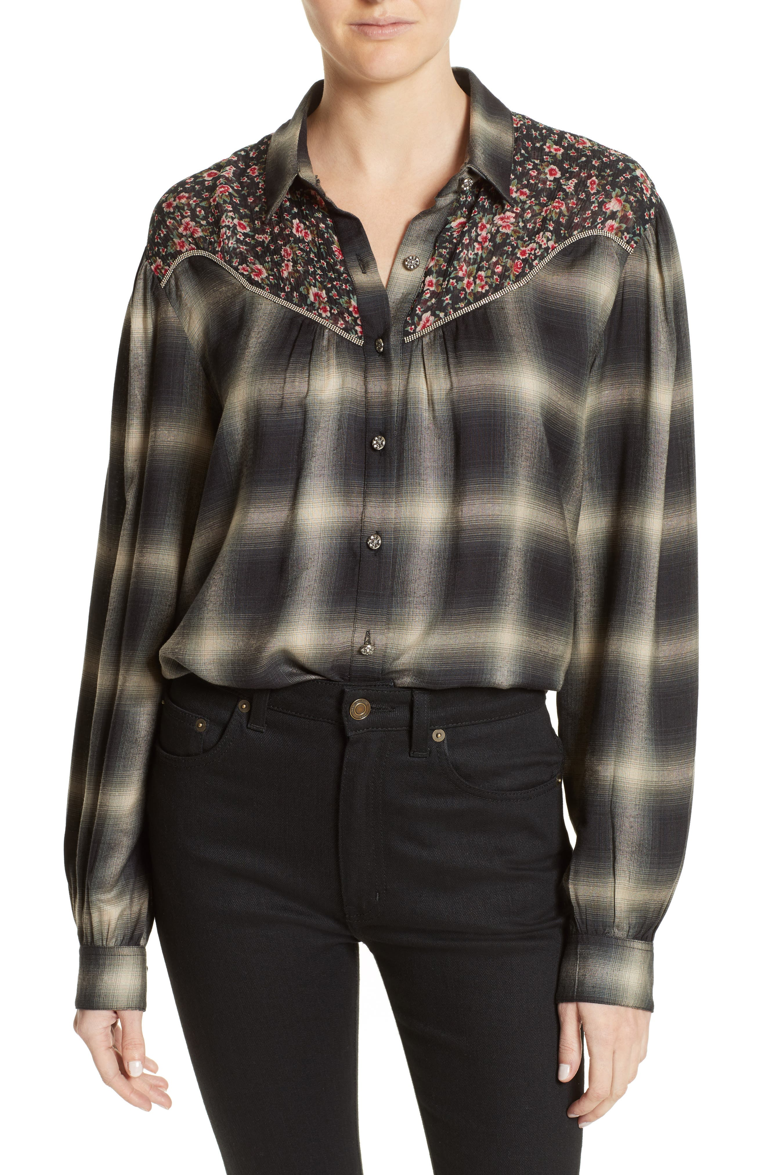 The Kooples James Floral Print Western Shirt