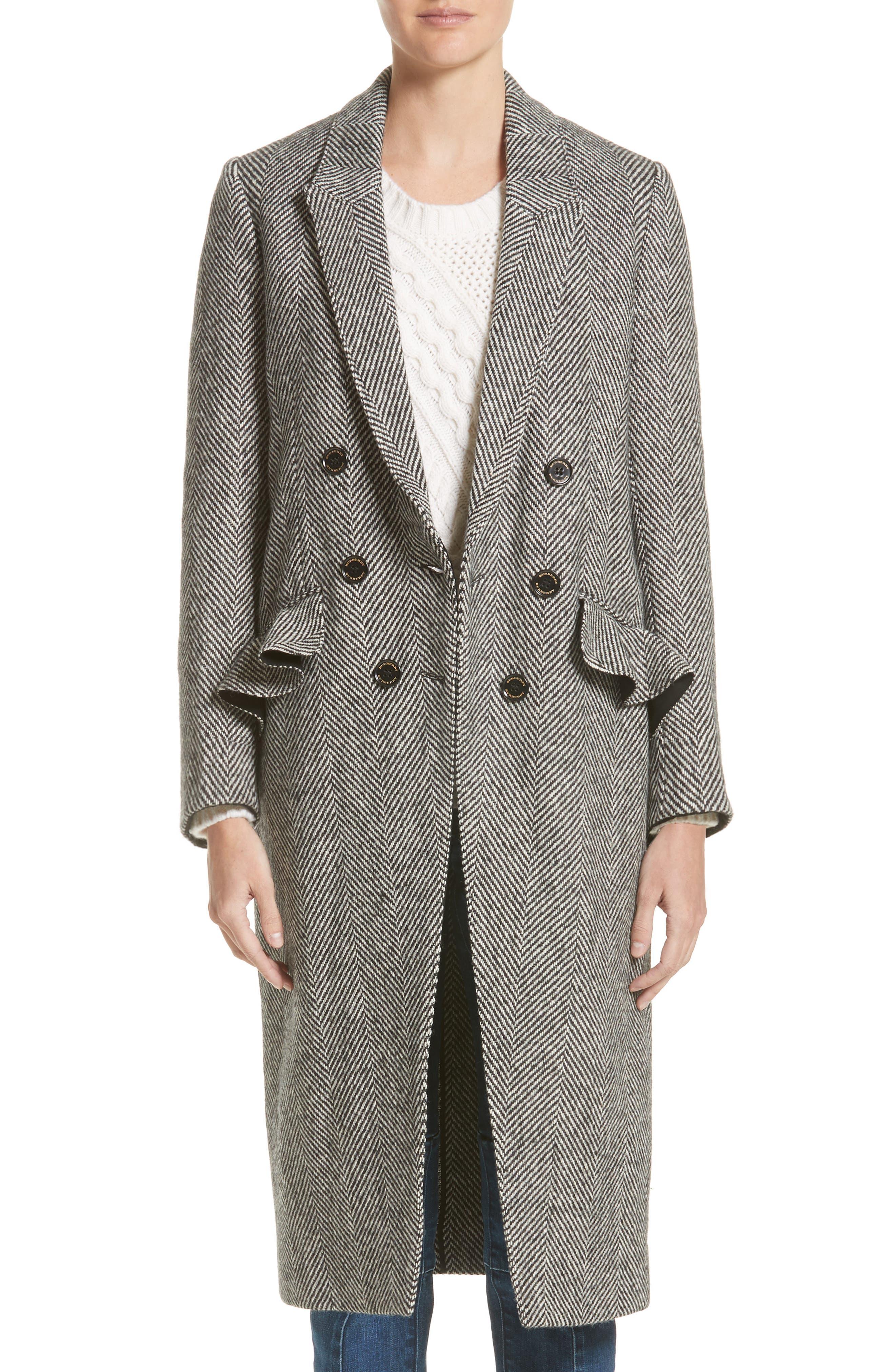 Burberry Trentwood Double Breasted Herringbone Wool Coat