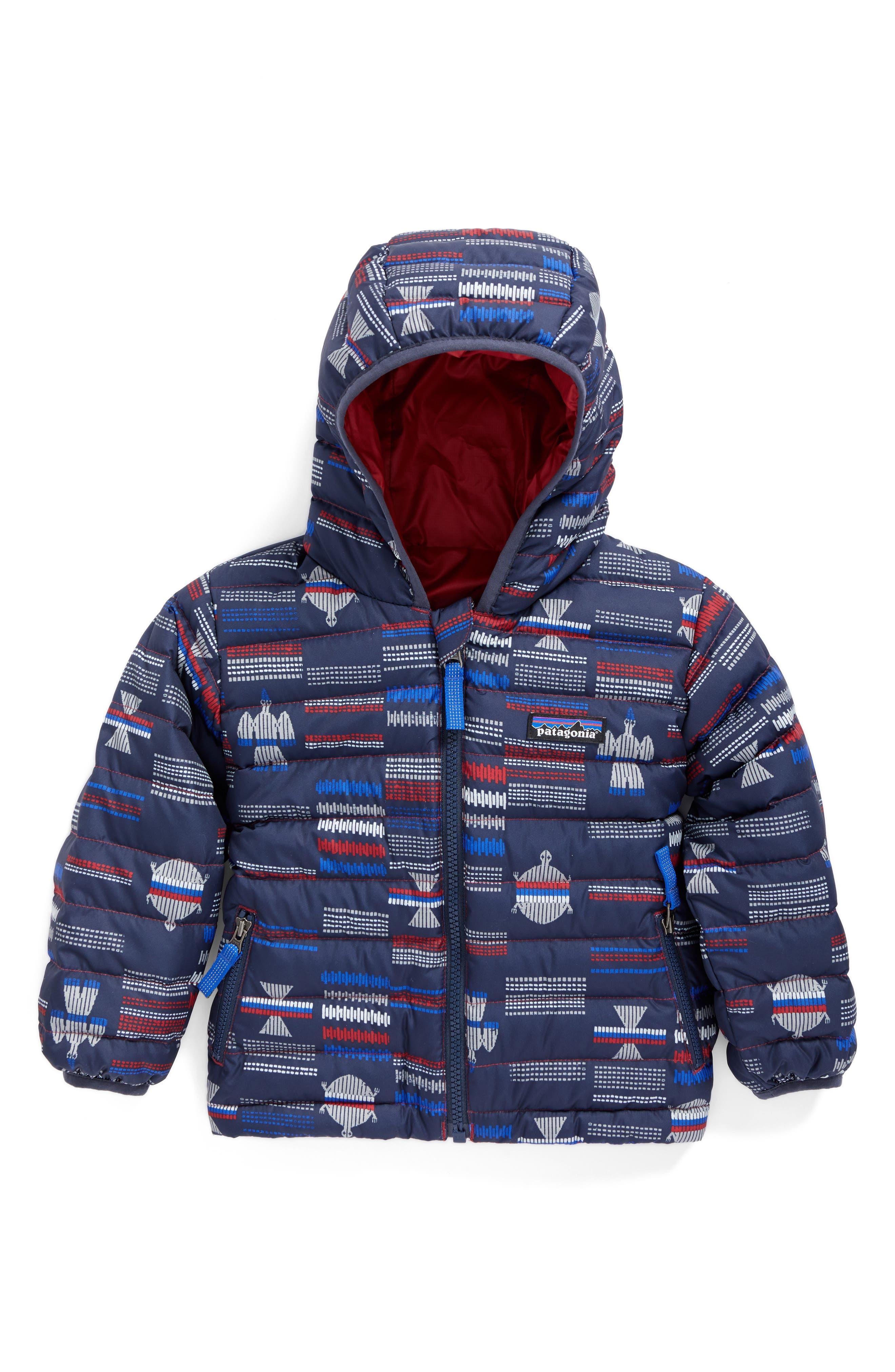 Alternate Image 1 Selected - Patagonia Reversible Down Sweater Hoodie (Baby Boys)