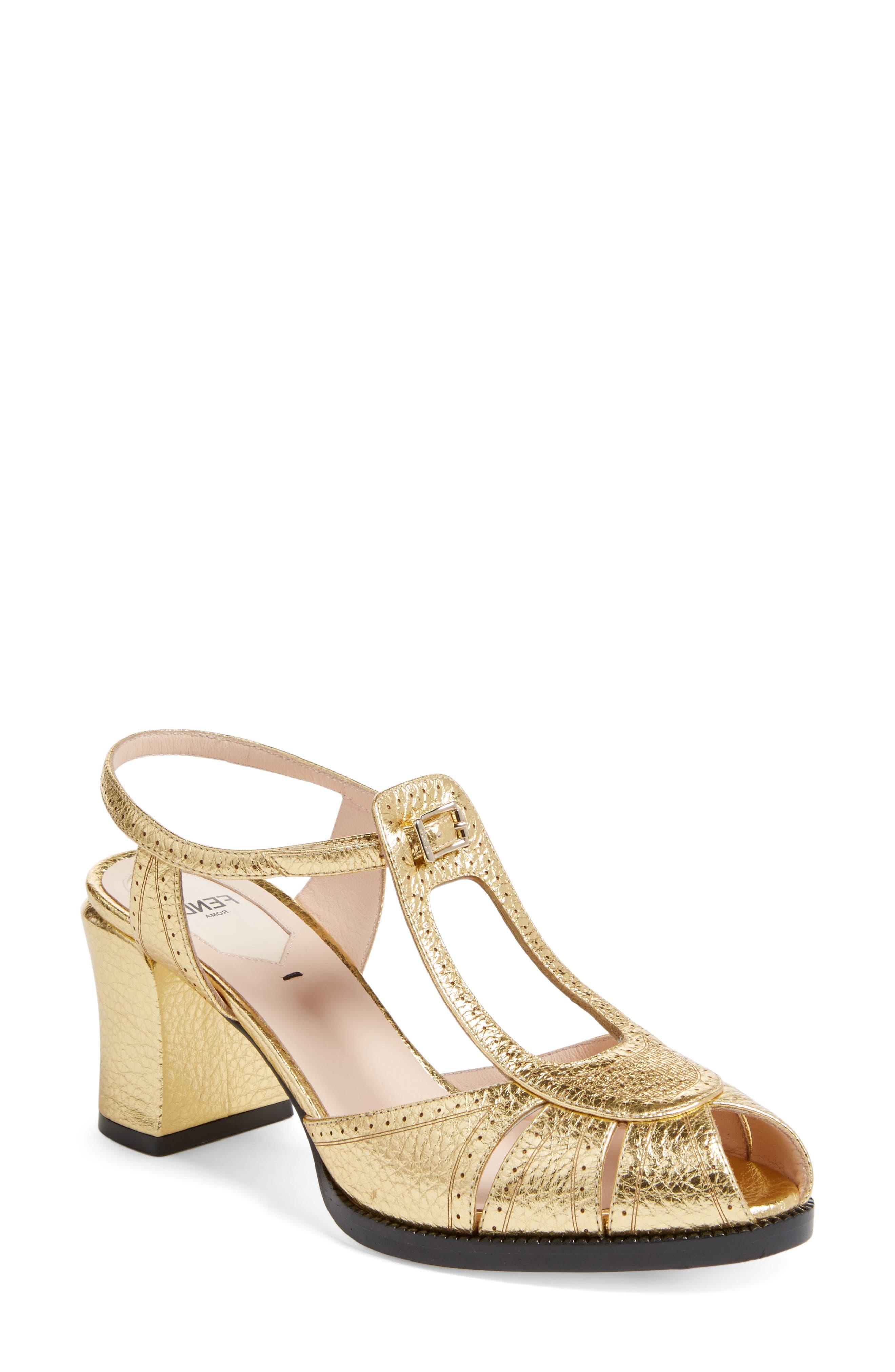 Alternate Image 1 Selected - Fendi Chameleon Leather Sandal (Women)