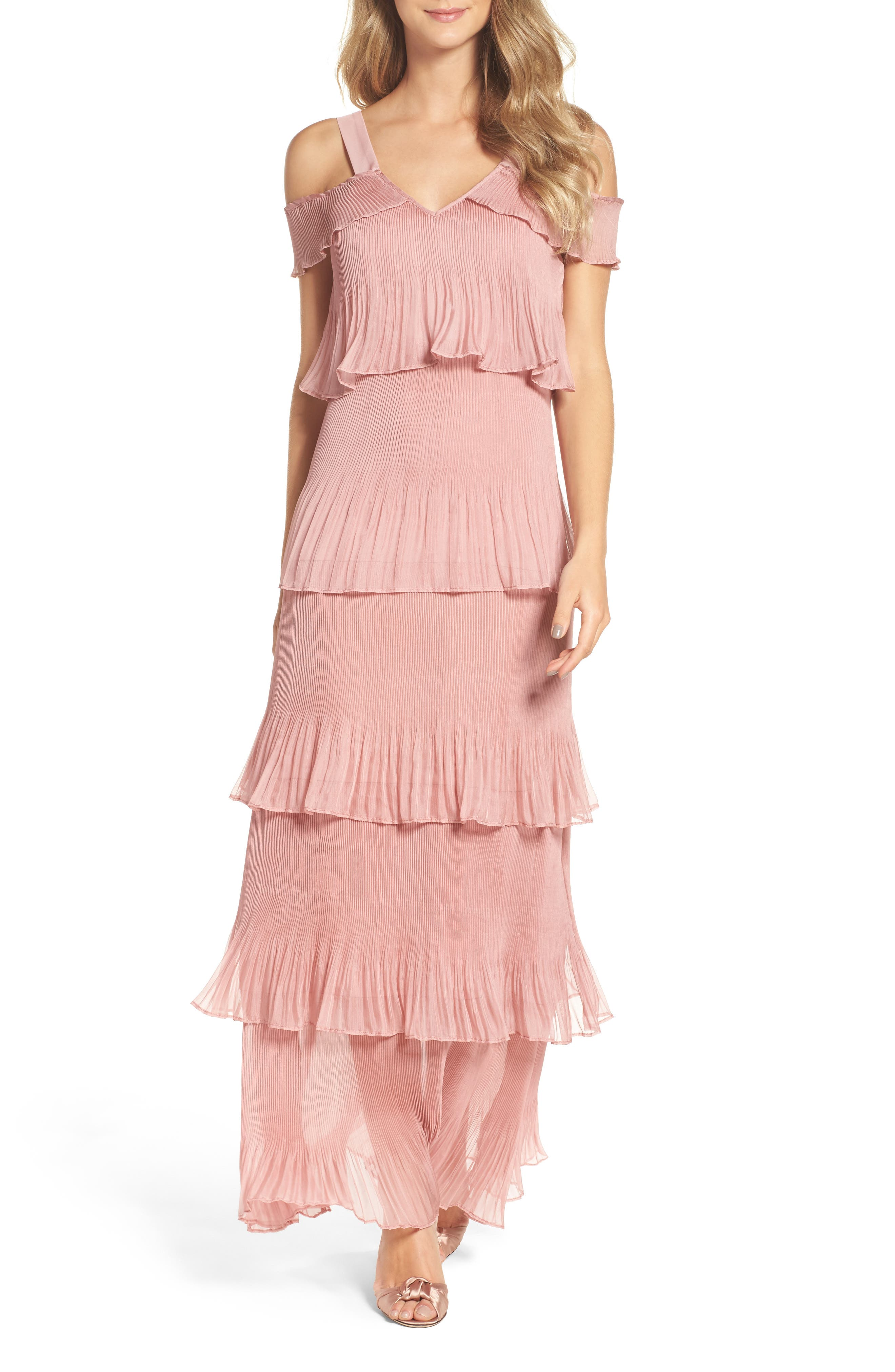 Cold Shoulder Ruffle Gown,                             Main thumbnail 1, color,                             Dusty Pink