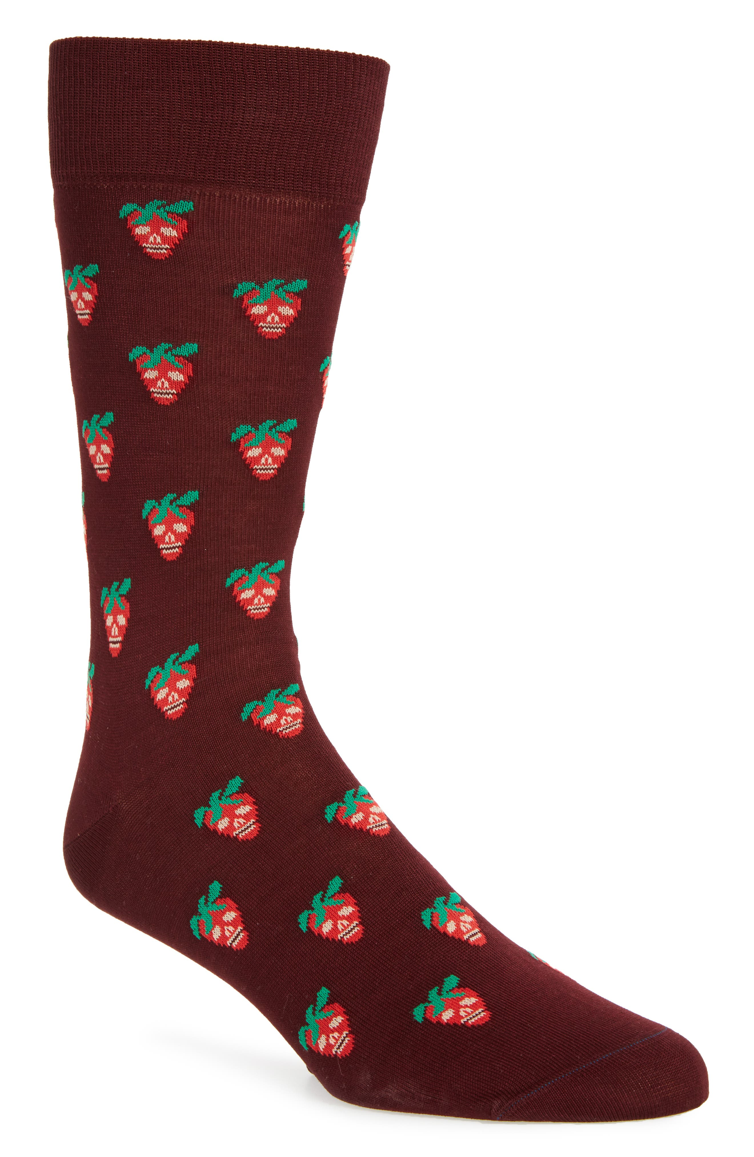 Mini Strawberry Crew Socks,                             Main thumbnail 1, color,                             Burgundy