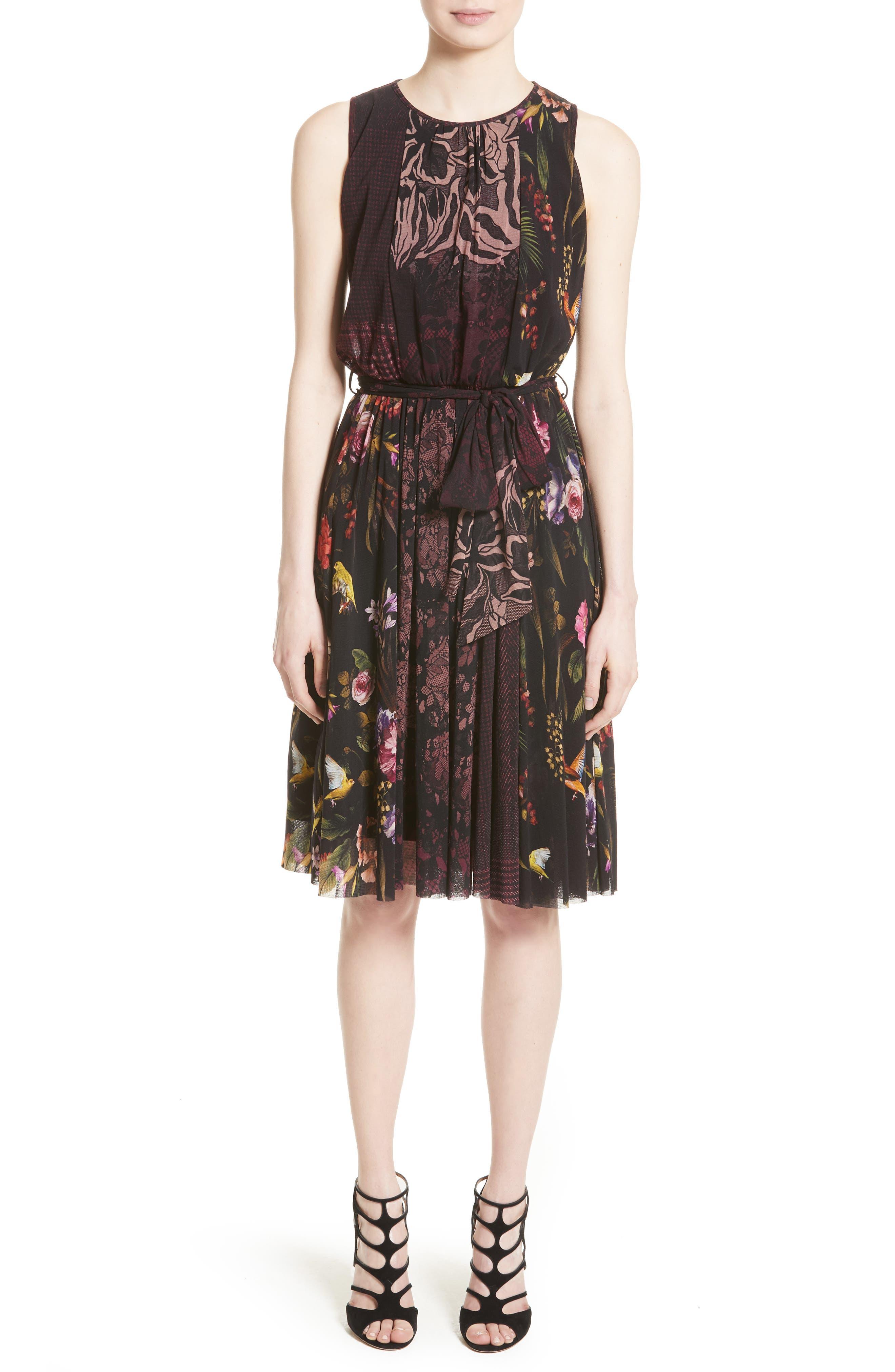 Main Image - Fuzzi Belted Tulle Dress
