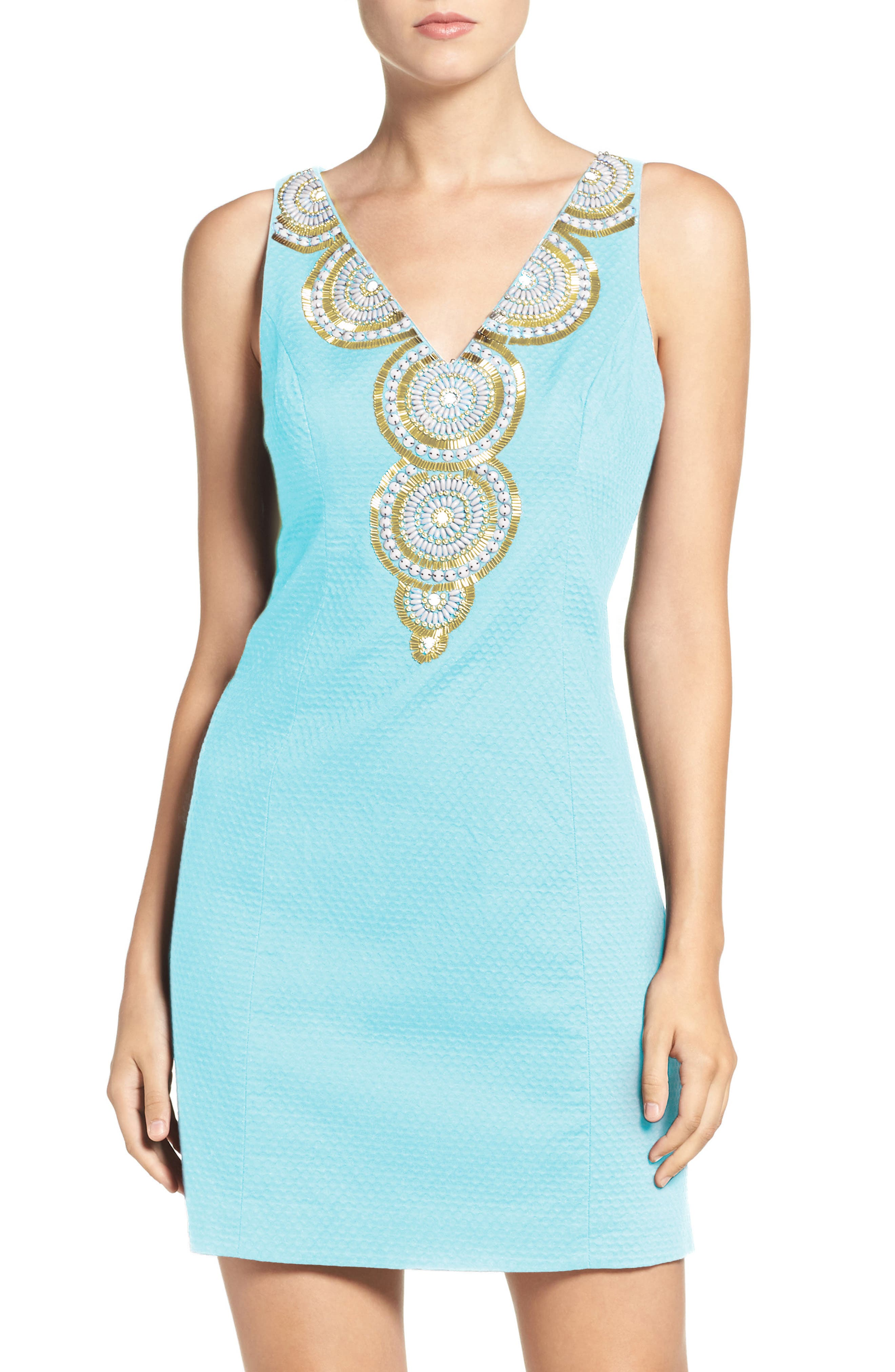 LILLY PULITZER<SUP>®</SUP> Gabby Beaded Neck Cotton Shift Dress