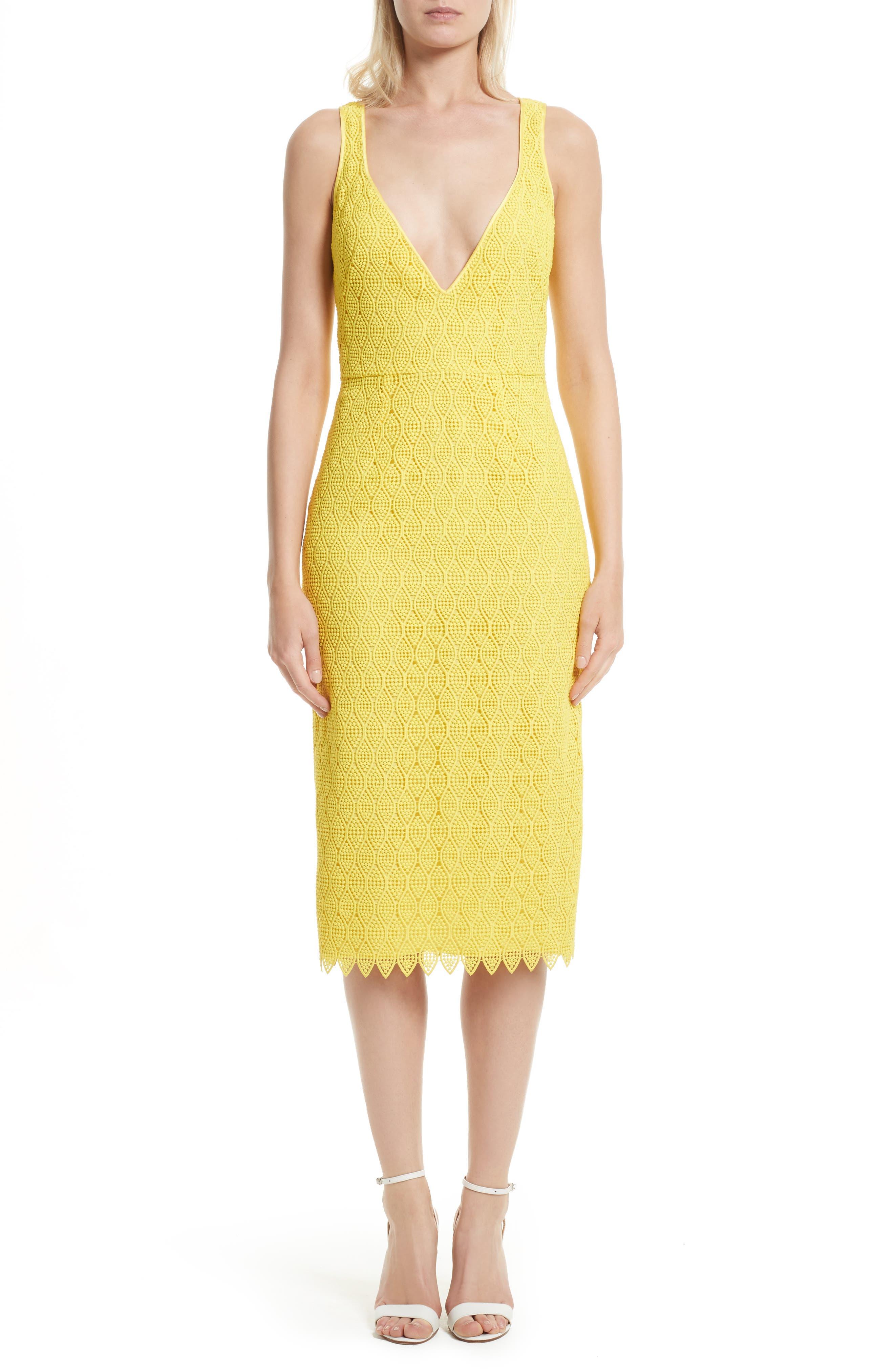 Lace Midi Sheath Dress,                         Main,                         color, Acid Yellow