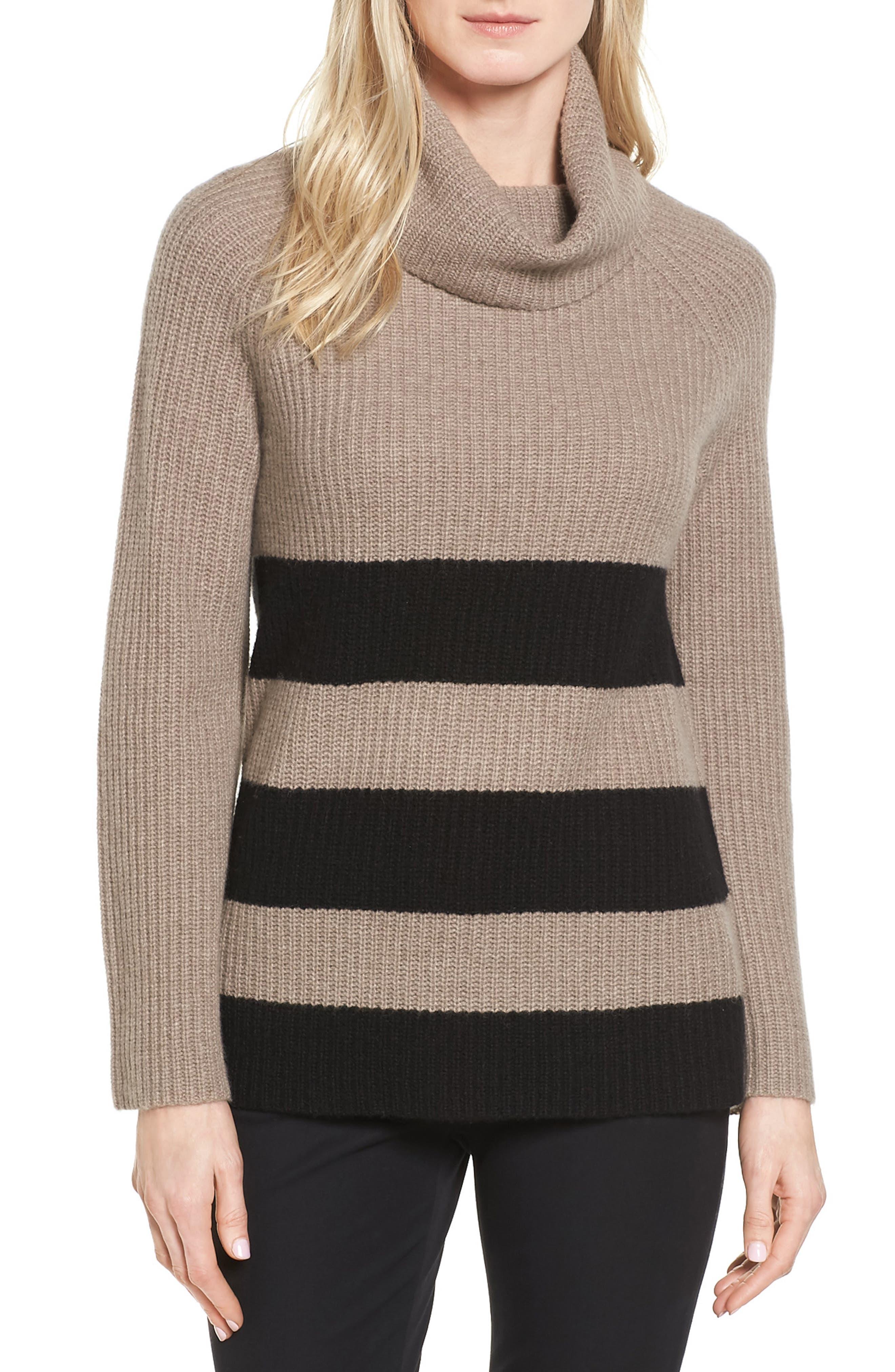 Halogen® Ribbed Cashmere Turtleneck Sweater (Regular & Petite)