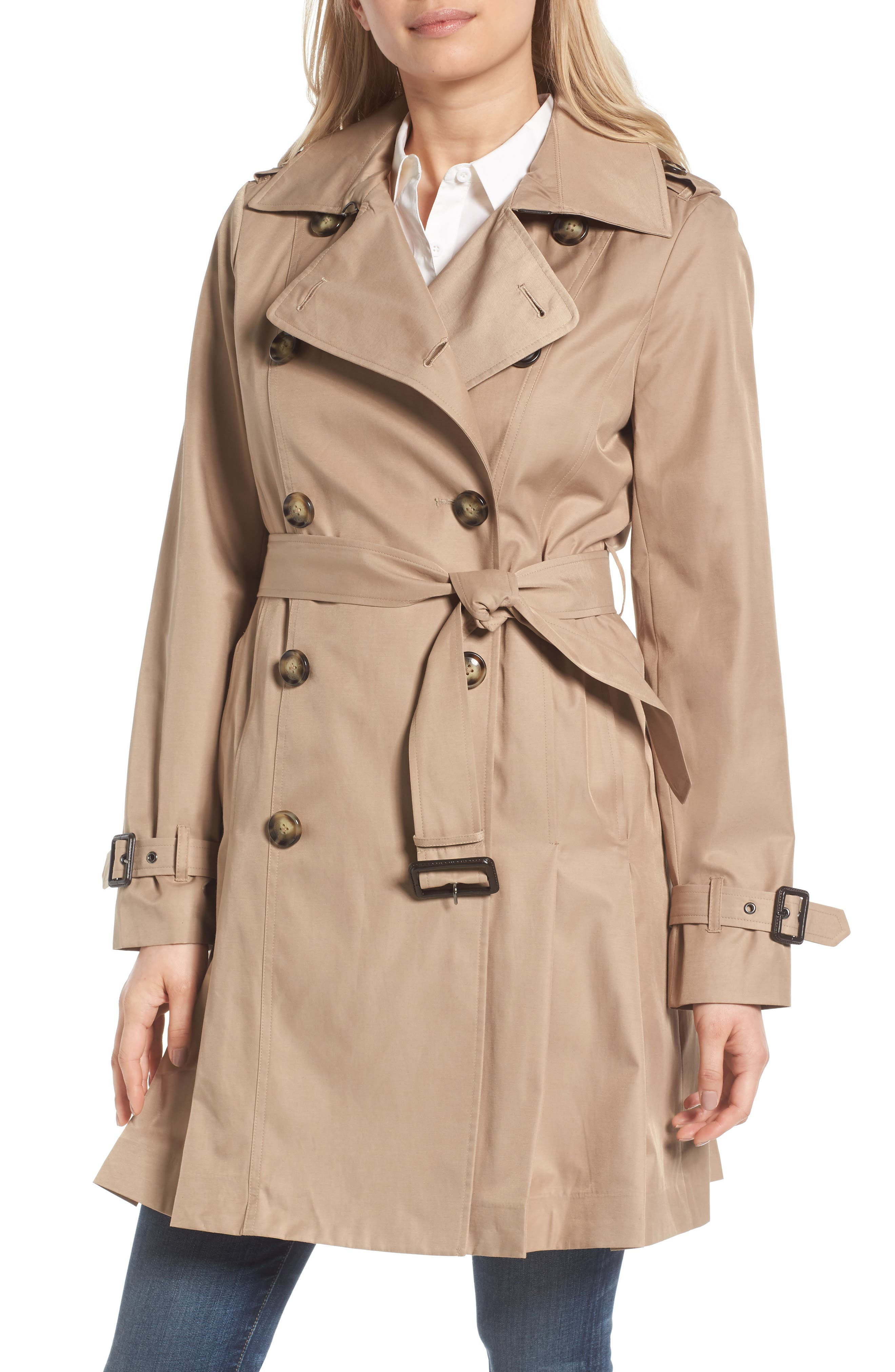 Alternate Image 1 Selected - MICHAEL Michael Kors Double Breasted Skirted Trench Coat