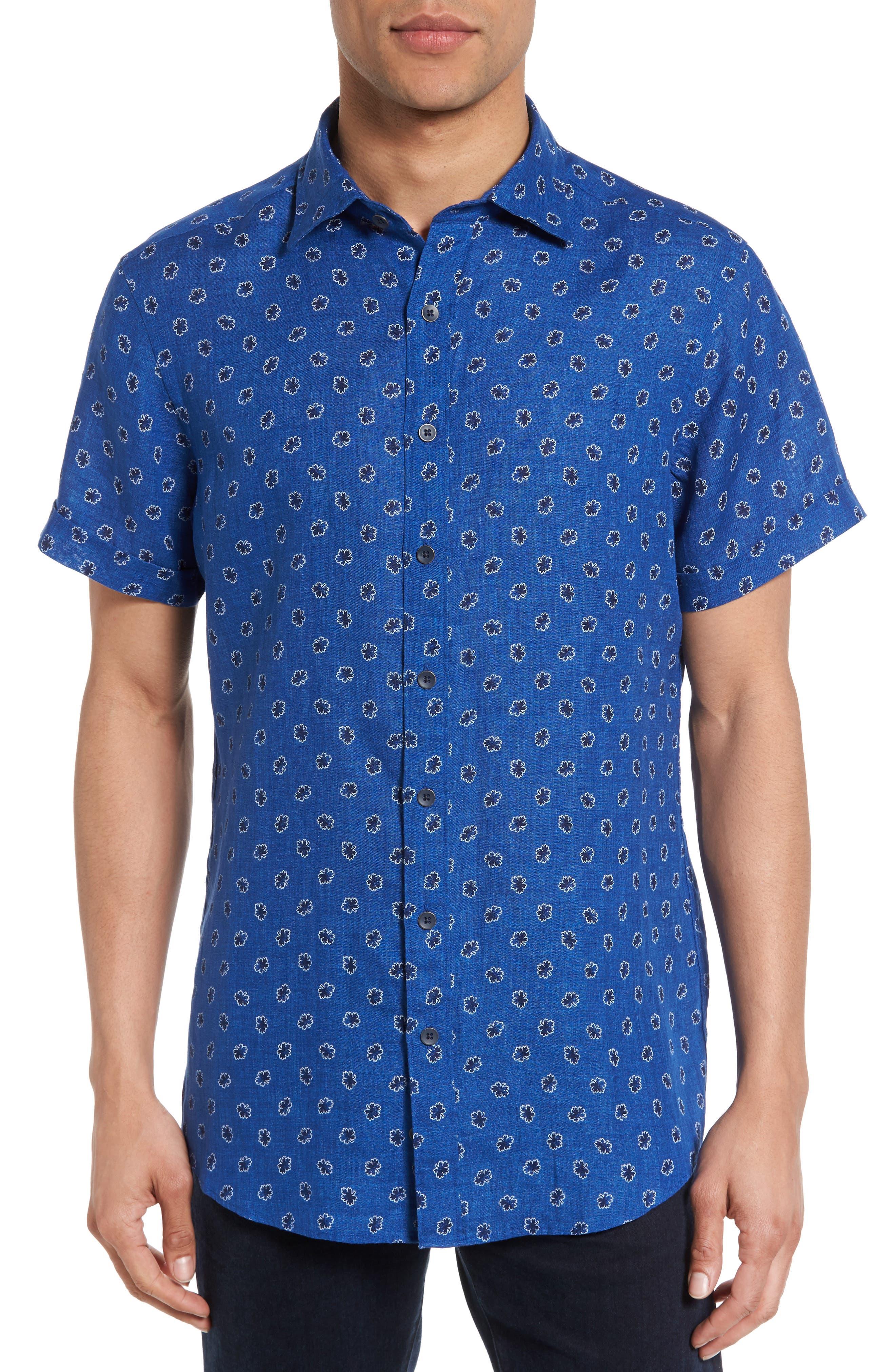 Rodd & Gunn Westerham Regular Fit Print Linen Sport Shirt