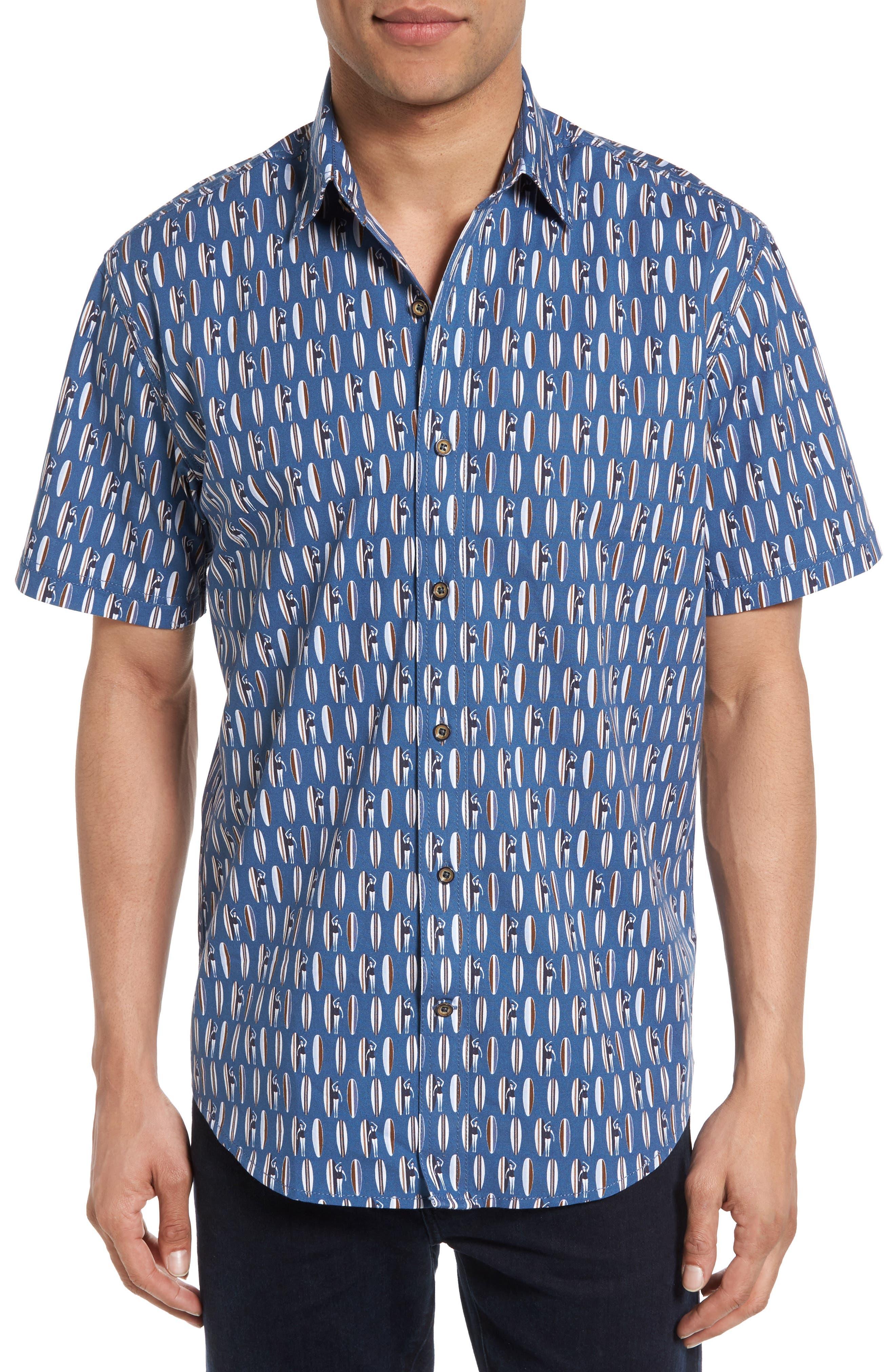 James Campbell Surfboard Print Sport Shirt