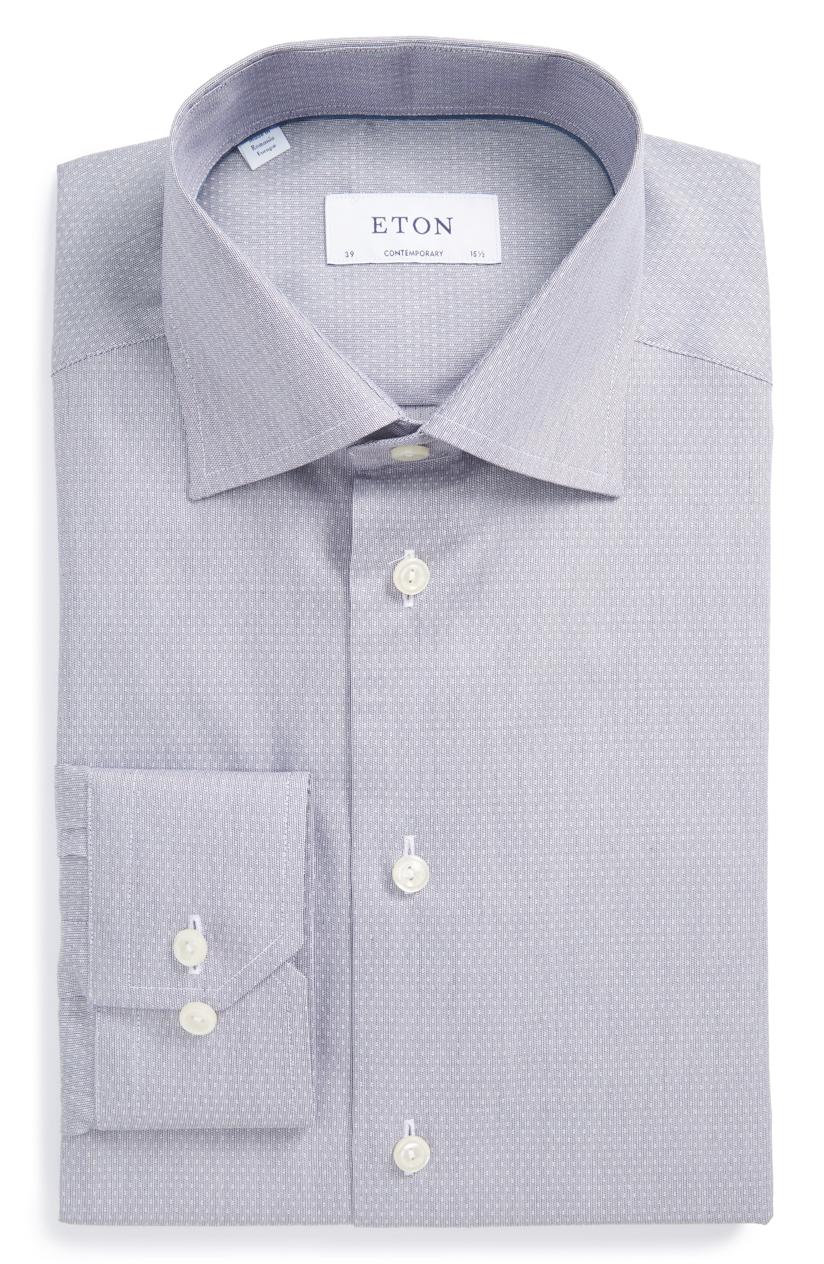Contemporary Fit Dot Dress Shirt,                         Main,                         color, Grey